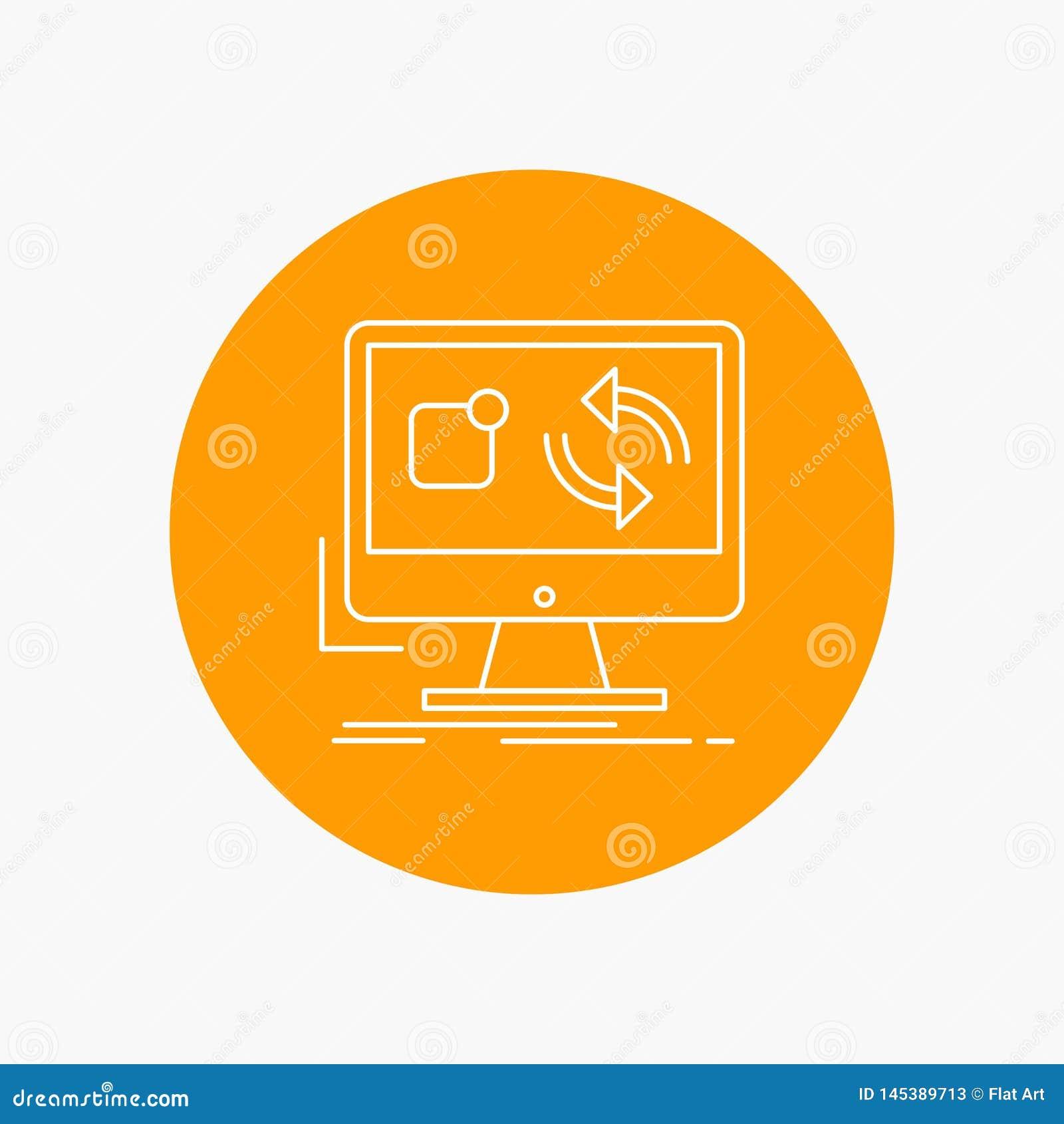 Aktualizacja, app, zastosowanie, instaluje, synchronizacji Białej linii ikona w okręgu tle Wektorowa ikony ilustracja