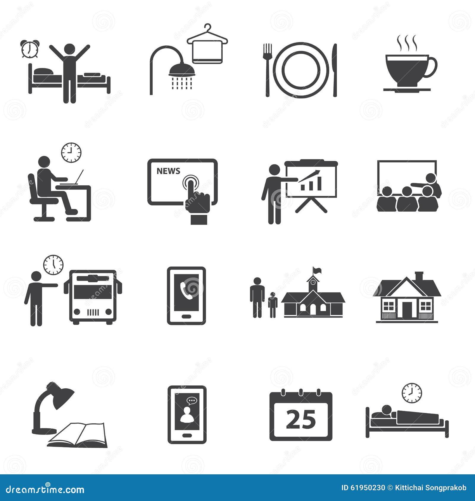 Aktywność Dzienne Rutynowe ikony ustawiać