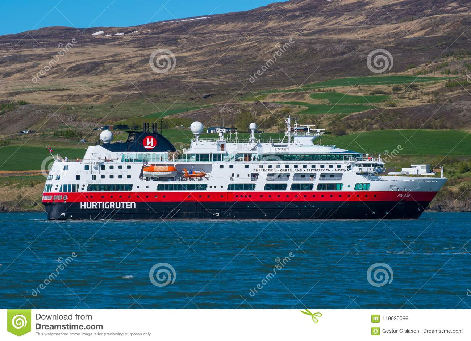 Cruise Ship Fram From The Norwegian Company Hurtigruten In
