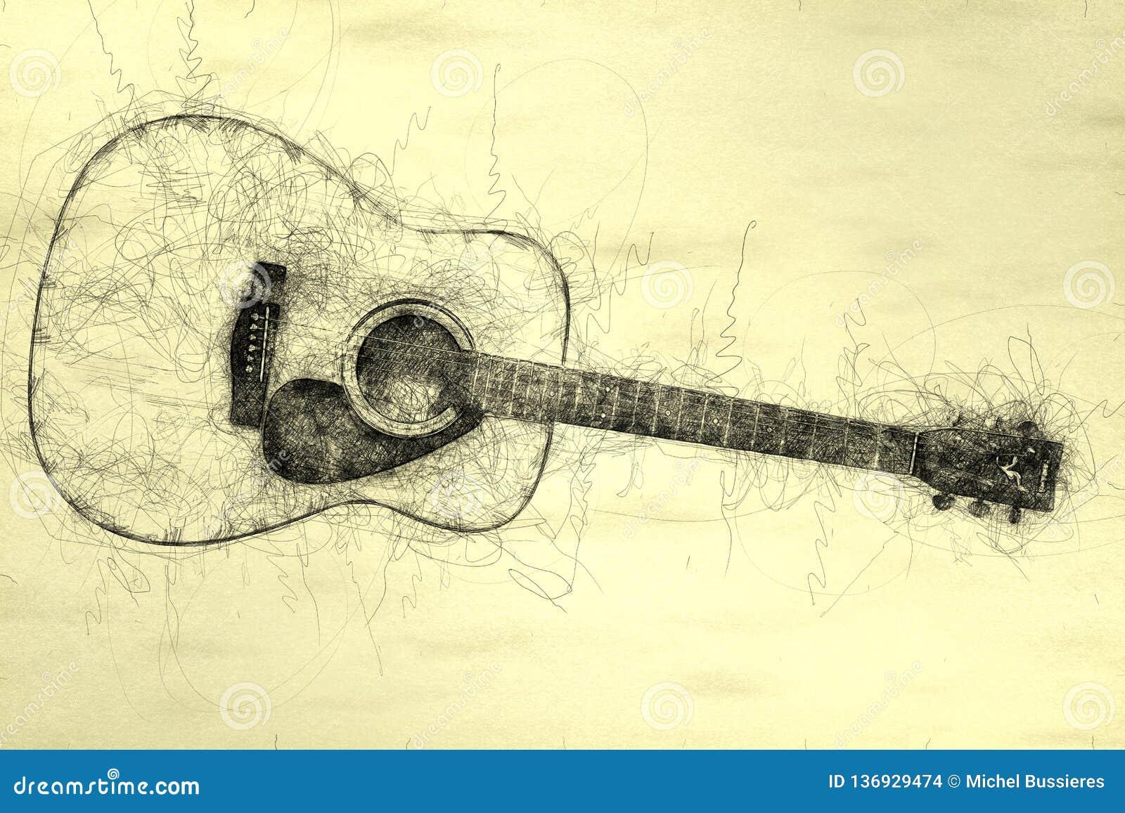 Akustikgitarre Gekritzelillustration