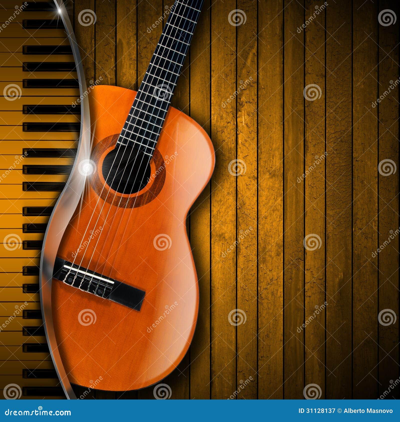 Akustikgitarre-und Klavier-Holz-Hintergrund