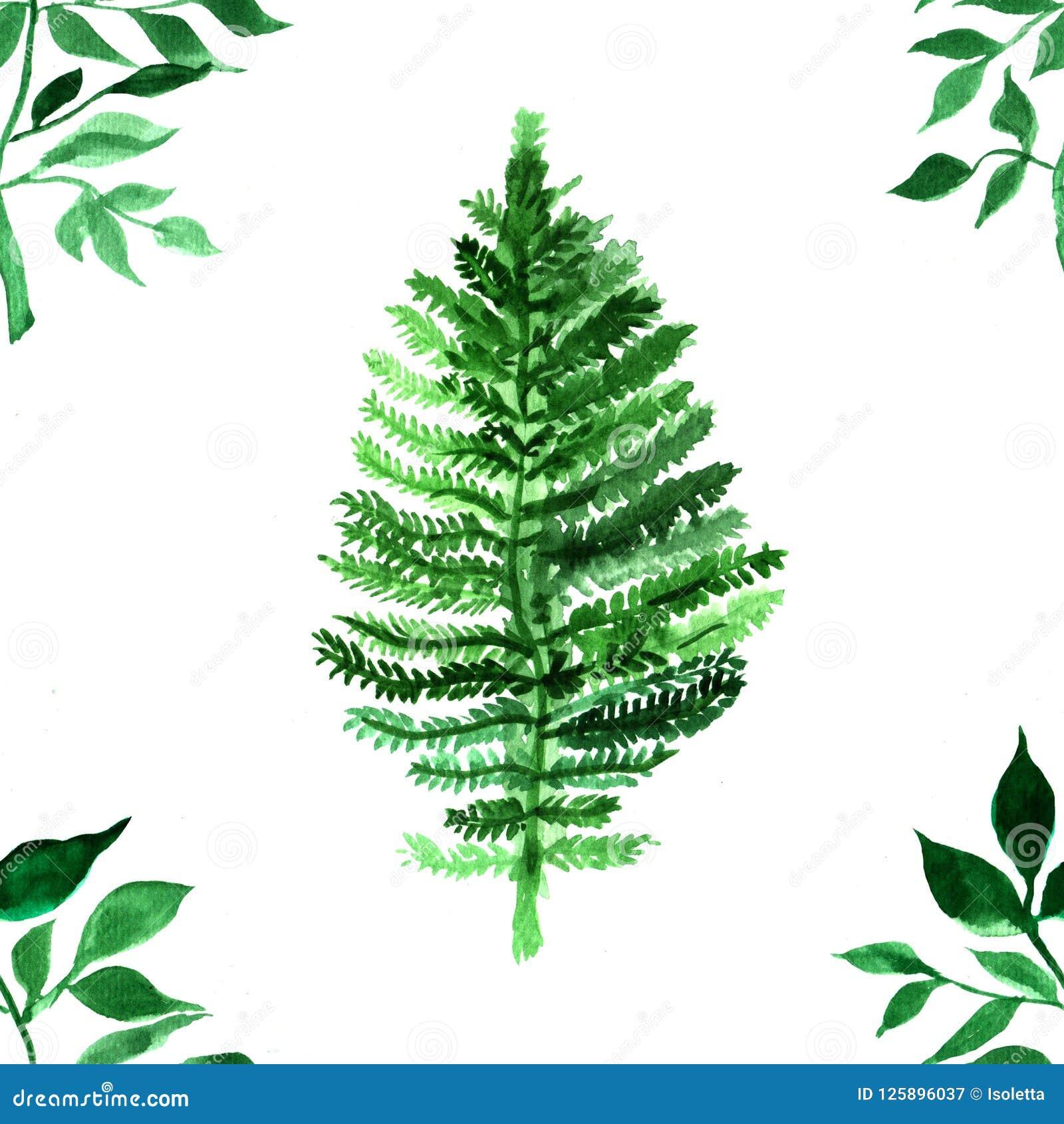 Akvarellmodell med gröna sidor Färgrikt tryck med den hand målade beståndsdelen abstrakt bakgrund