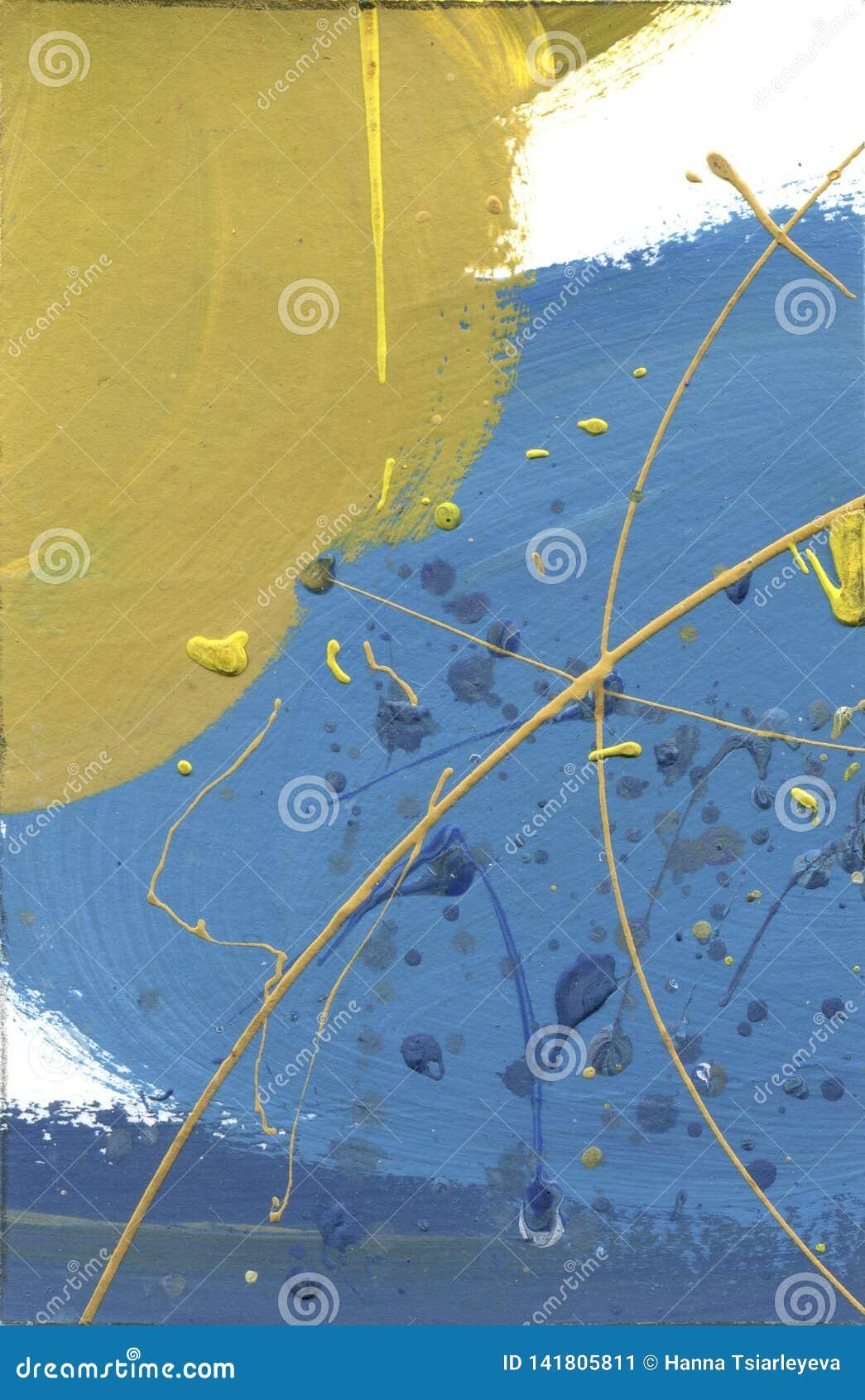 Akwarela abstrakt bolał kanwę Pustynnych skutków akrylowych pluśnięć farby ręcznie robiony kolor żółty i niebieskiej linii tekstu