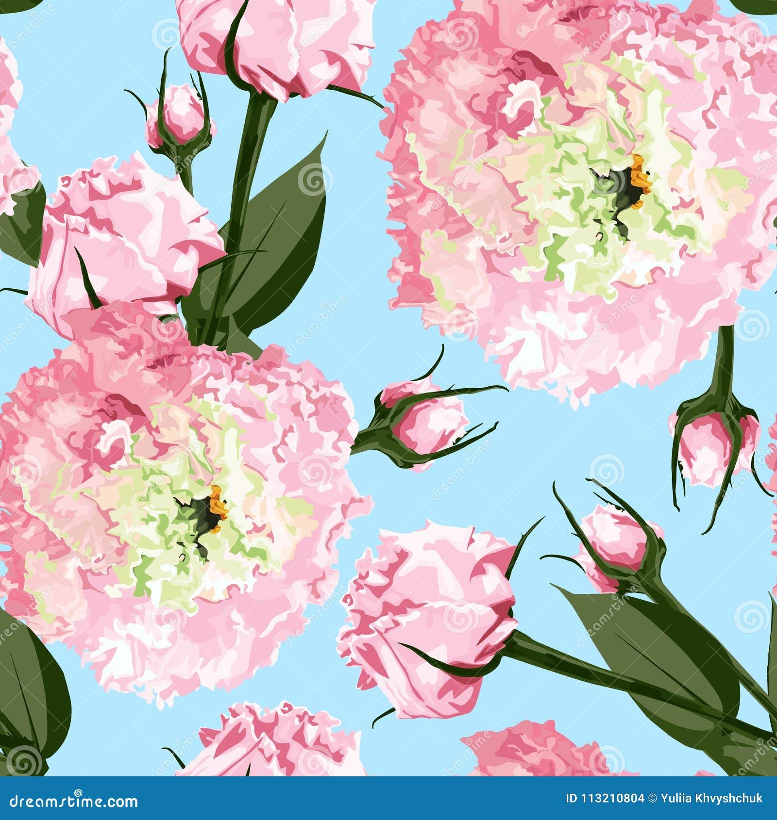 Akwarela bezszwowy kwiecisty wzór Kwitnie delikatnego wzór kwiatu Eustoma, Lysianthus