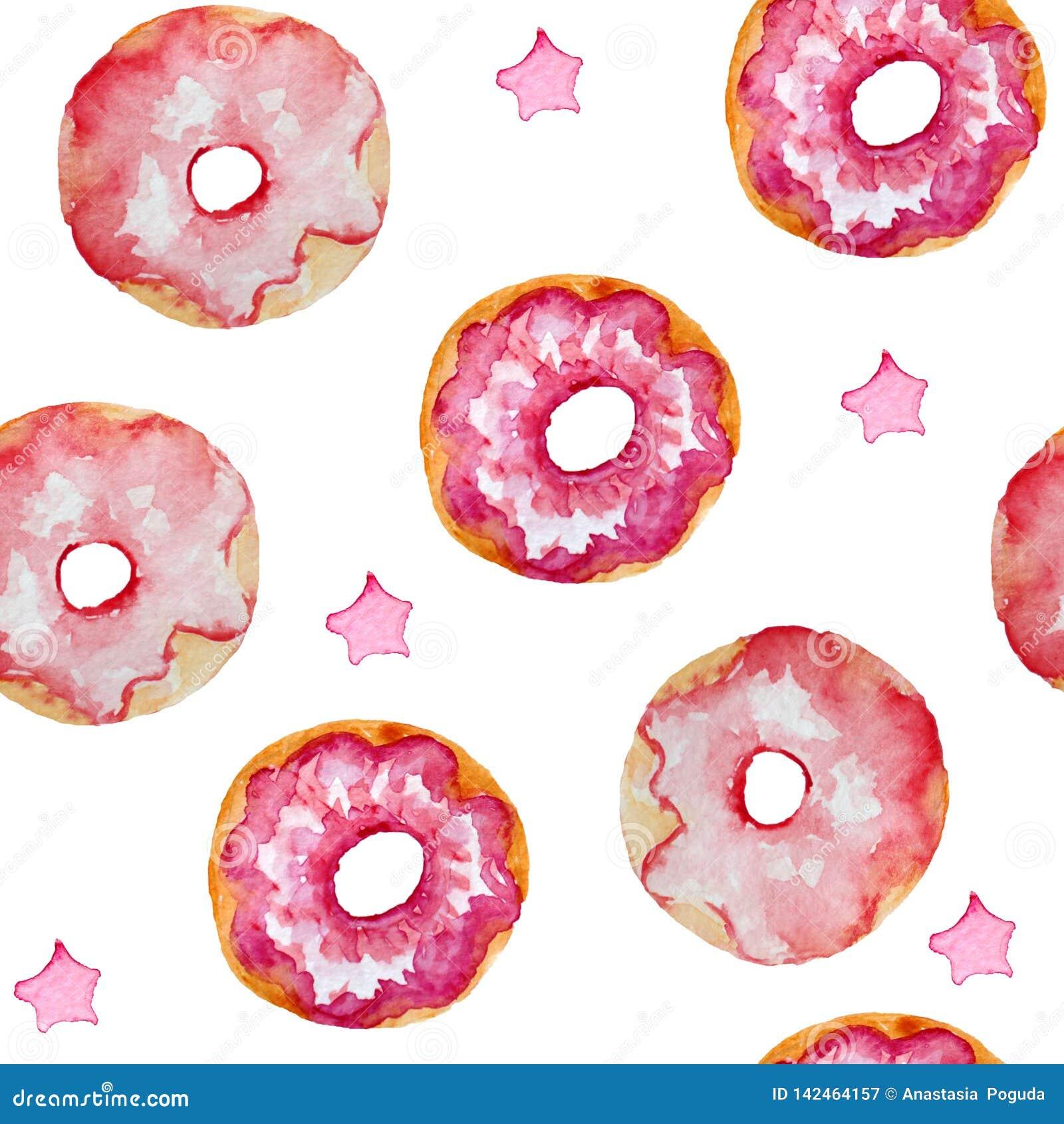 Akwarela bezszwowy wzór różowi donuts n i gwiazdy, karty, zaproszenia, tkaniny