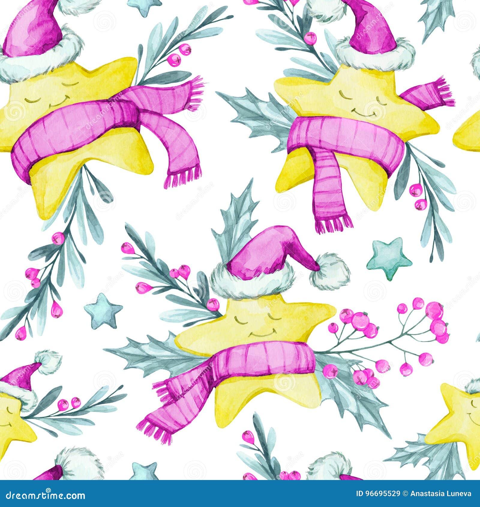 Akwarela bezszwowy wzór z kreskówką gra główna rolę w ciepłych płótnach, liściach i jagodach, nowy rok, wesołych Świąt