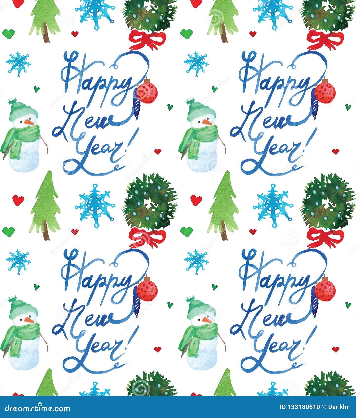 Akwarela Bożenarodzeniowy wakacyjny bezszwowy wzór z bałwanu, drzew, jeleniej i szczęśliwej nowy rok kopią, Zima nowego roku tema