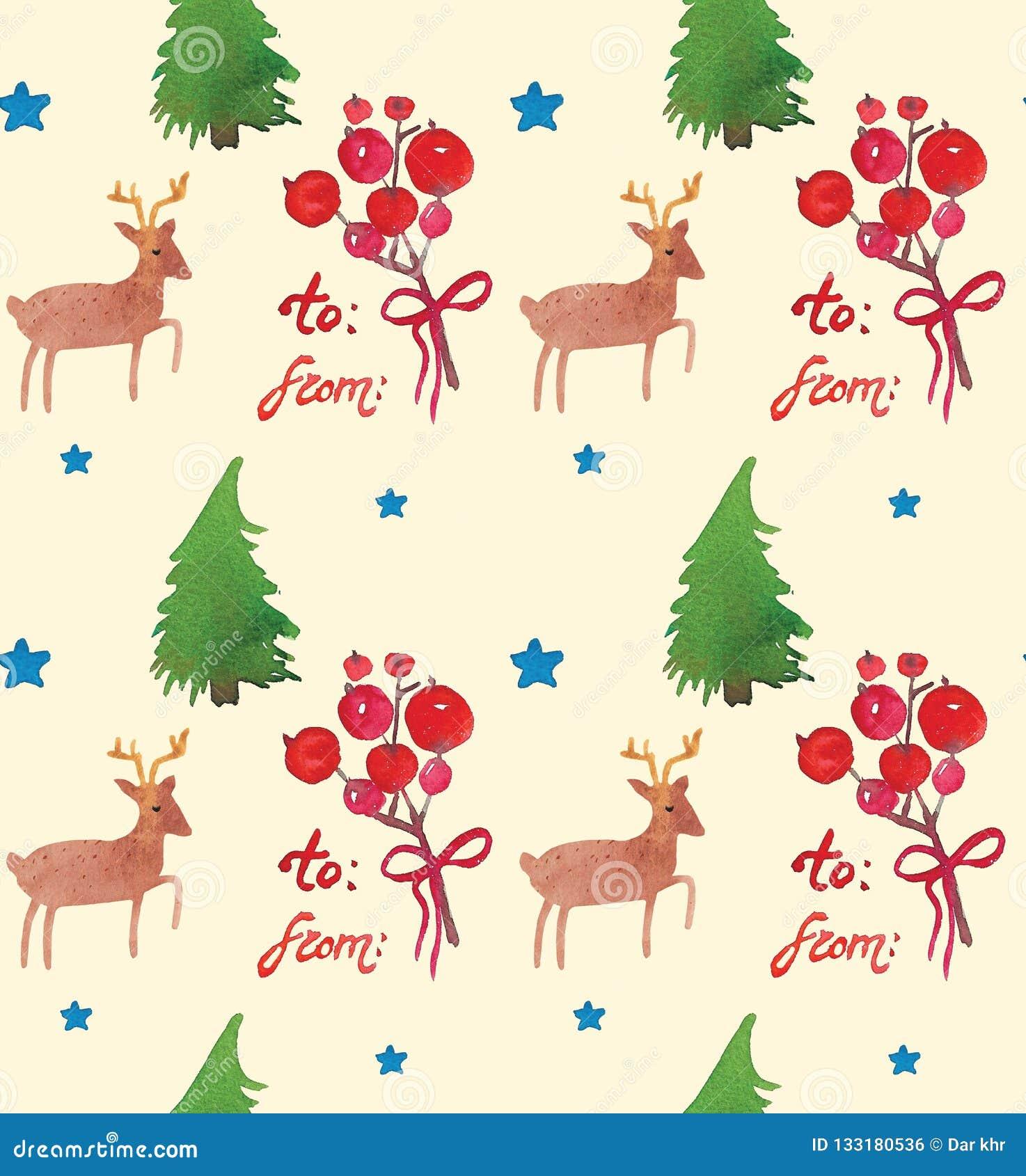 Akwarela Bożenarodzeniowy wakacyjny bezszwowy wzór z jagod, drzew, jeleniej i szczęśliwej nowy rok kopią, Zima nowego roku temat