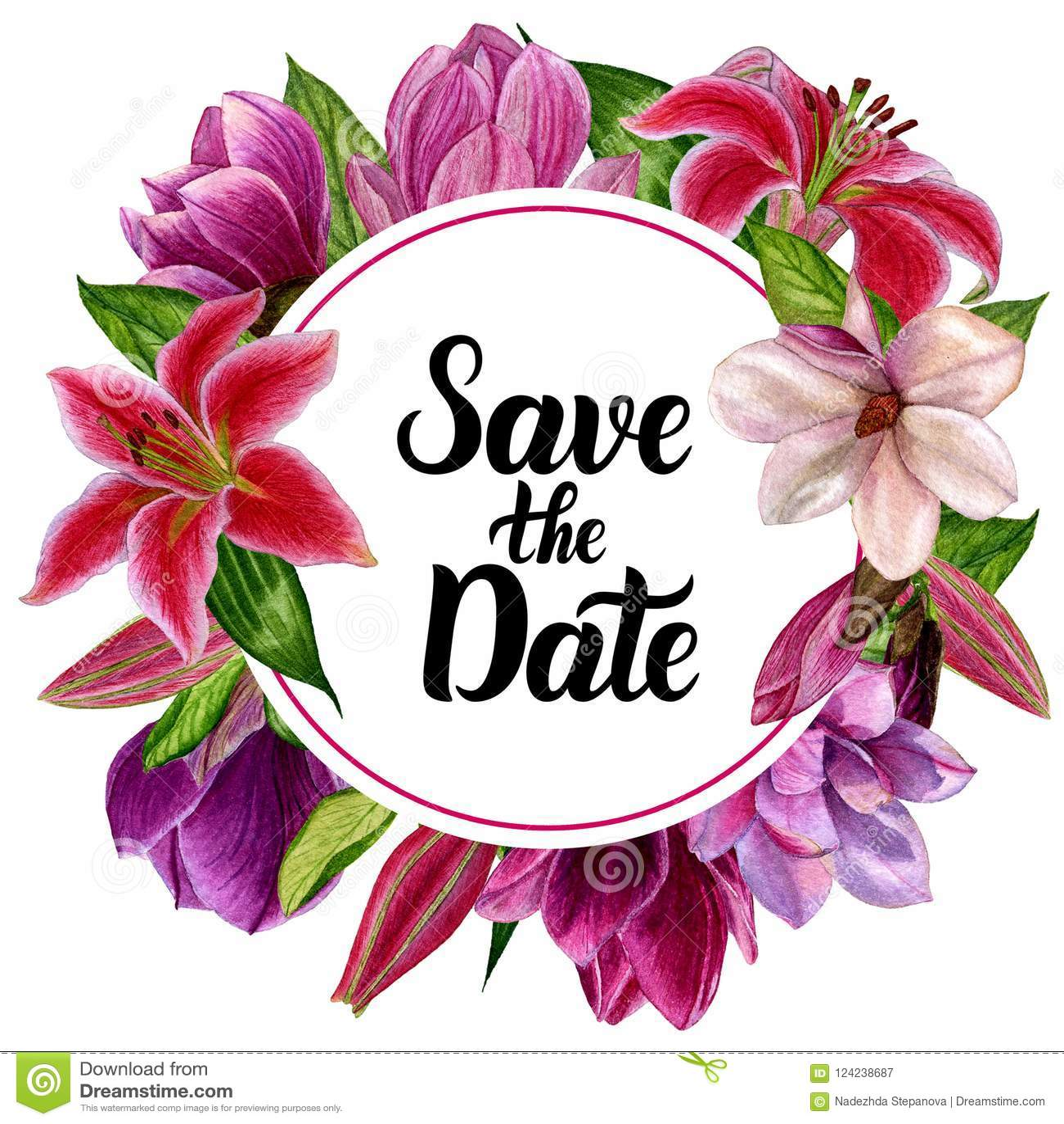 Akwarela handmade, wianek z kwiatami Dla projekta twój zaproszenia ślub