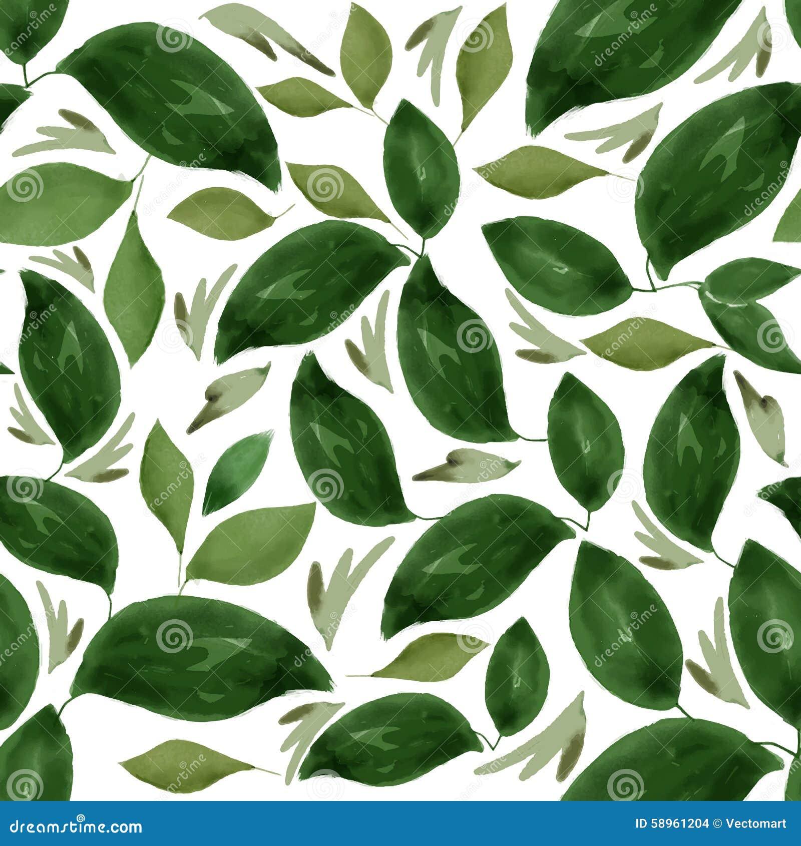 Akwarela Kwiecistego liścia Bezszwowy wzór