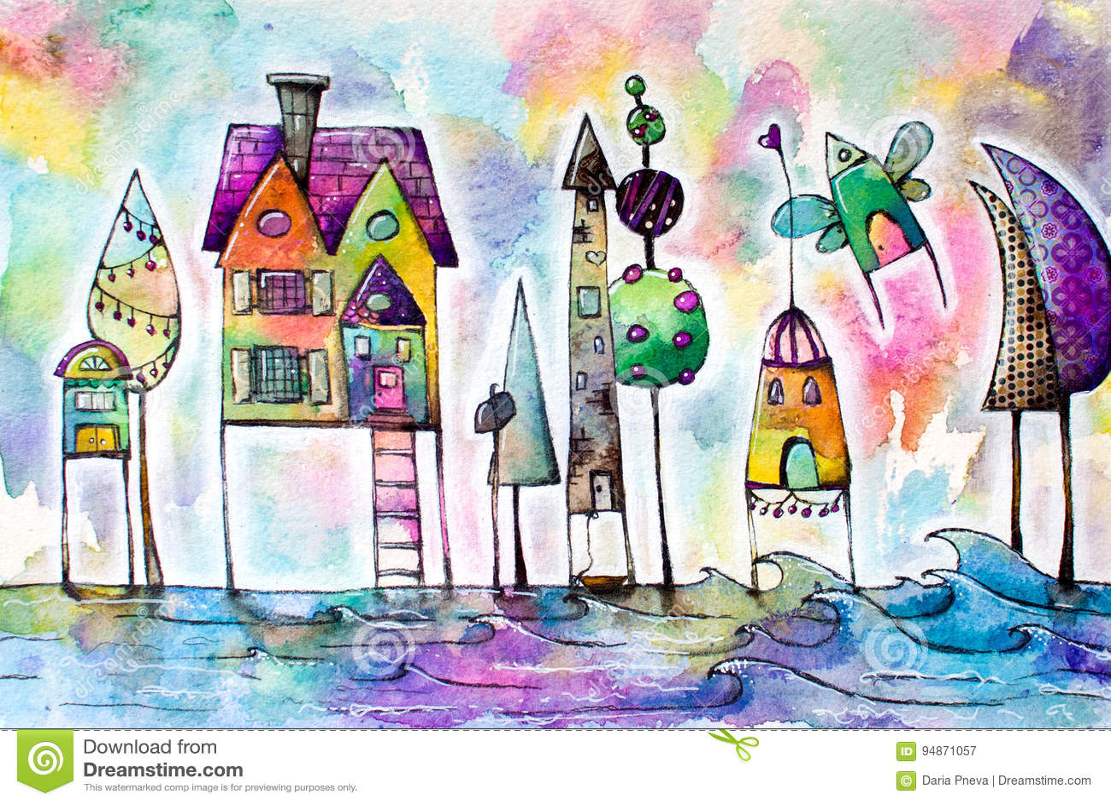 Akwarela magiczni domy miasto, ulica
