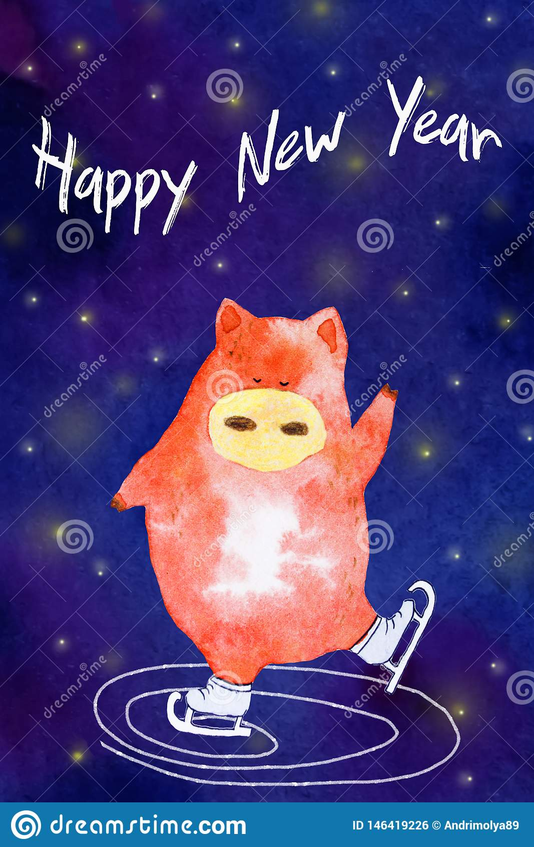 Akwarela nowego roku świnia
