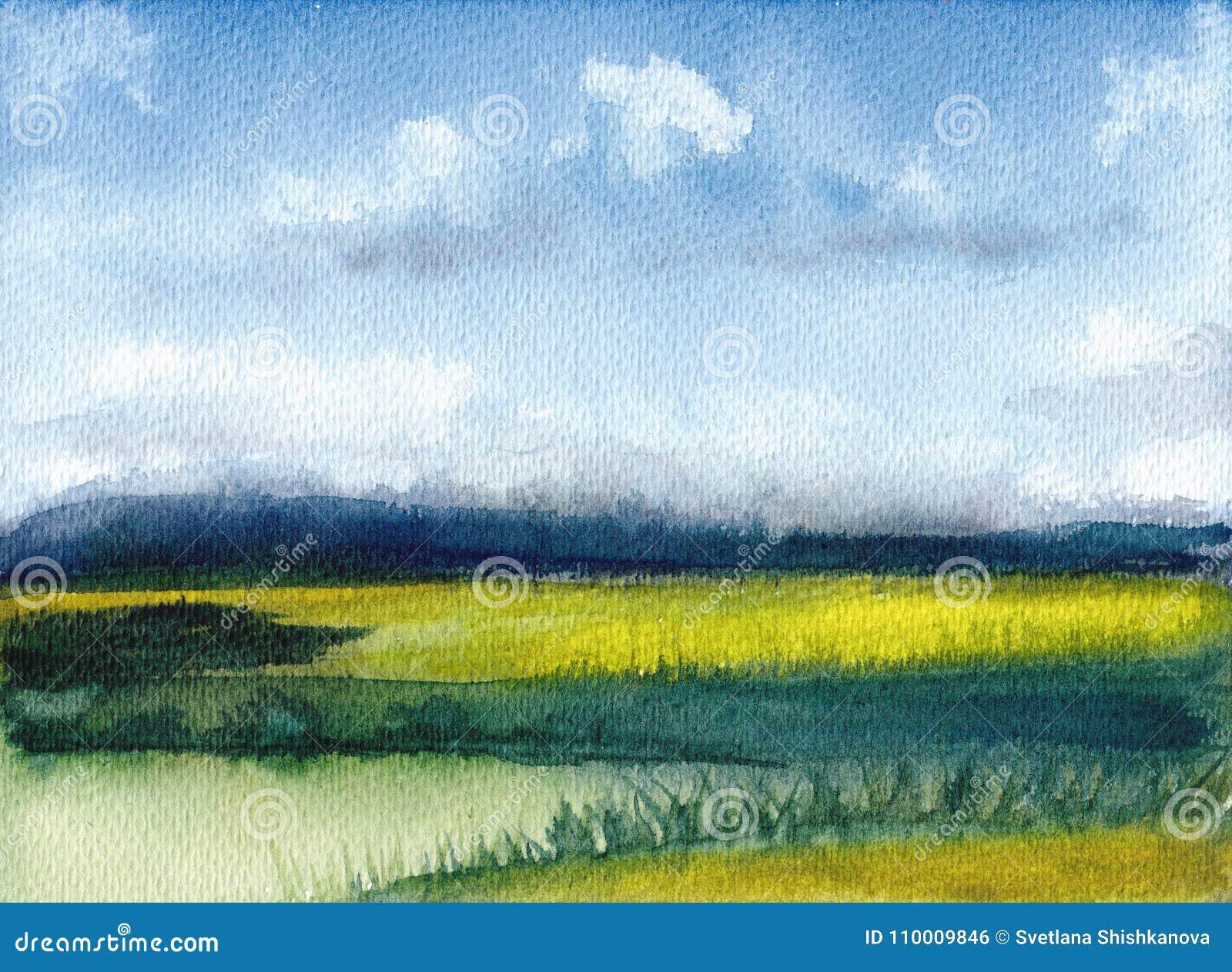 Akwarela obraz lato krajobraz z górami, niebieskie niebo, chmury, zielona halizna malująca tło abstrakcjonistyczna ręka _