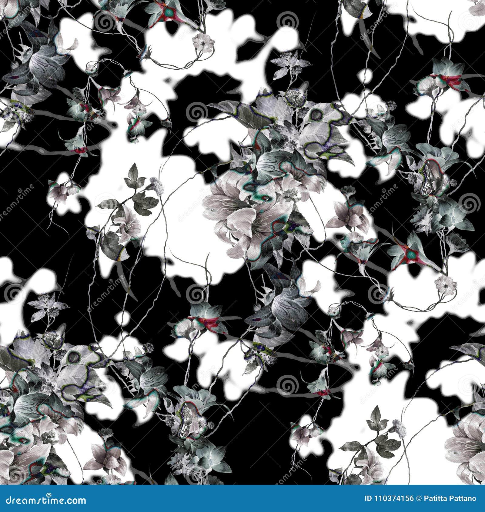 Akwarela obraz liść i kwiaty, bezszwowy