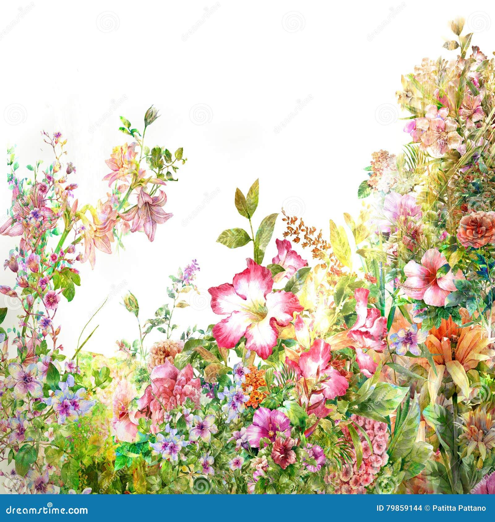 Akwarela obraz liście i kwiat