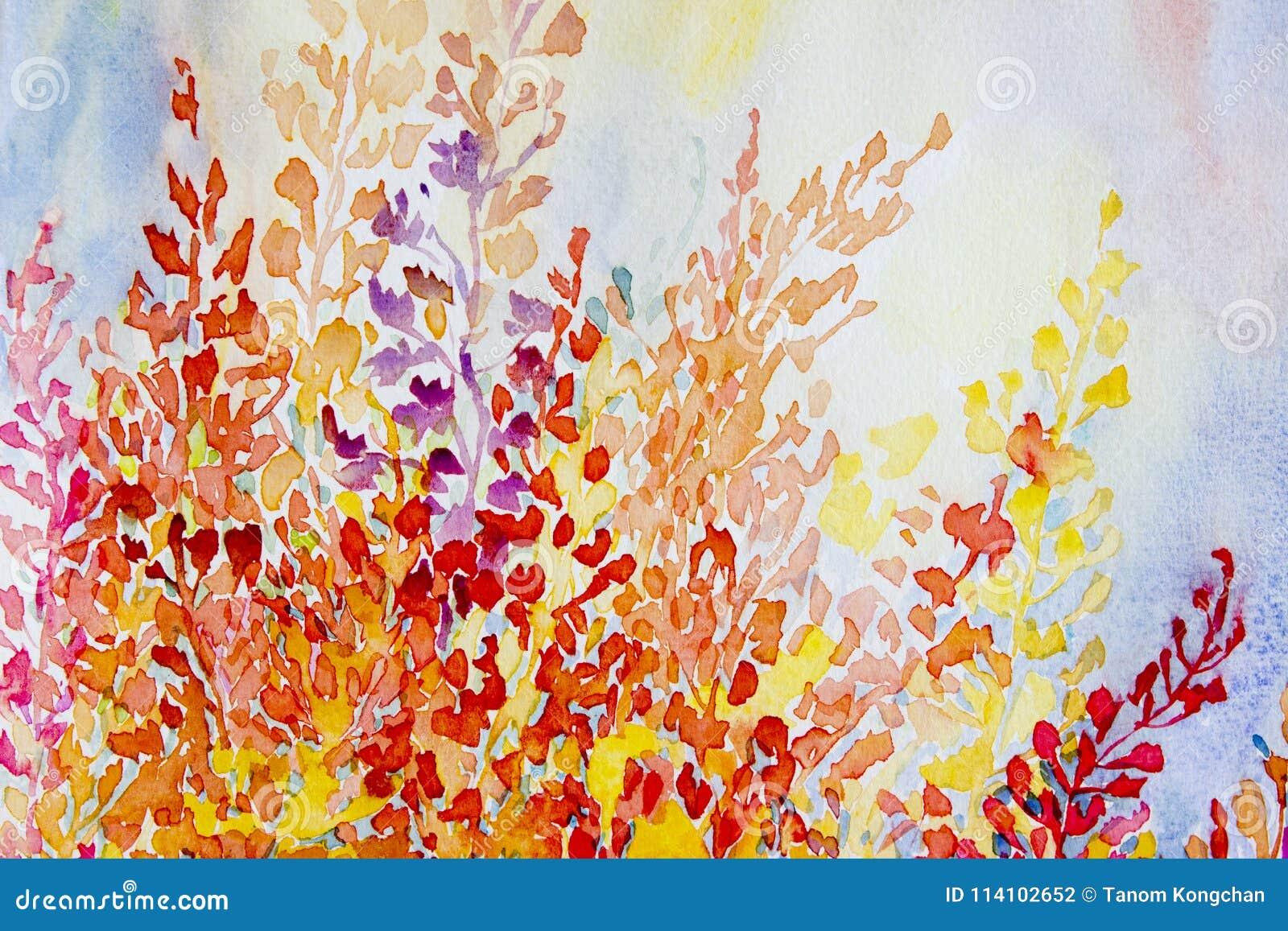 Akwarela oryginalnego obrazu kolorowa wiązka abstrakcjonistyczni kwiaty