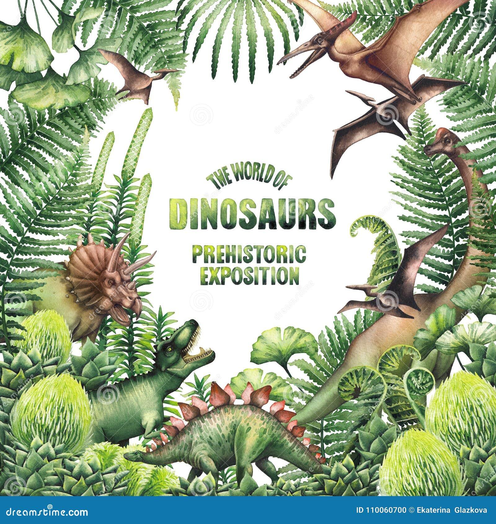 Akwarela projekt z prehistorycznymi roślinami i dinosaurami