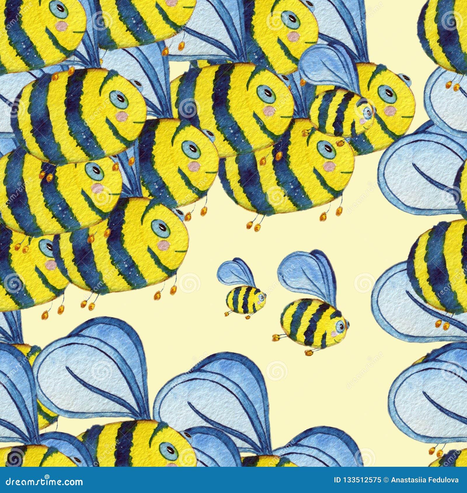 Akwarela ręka rysujący bezszwowy wzór z latającymi pszczołami