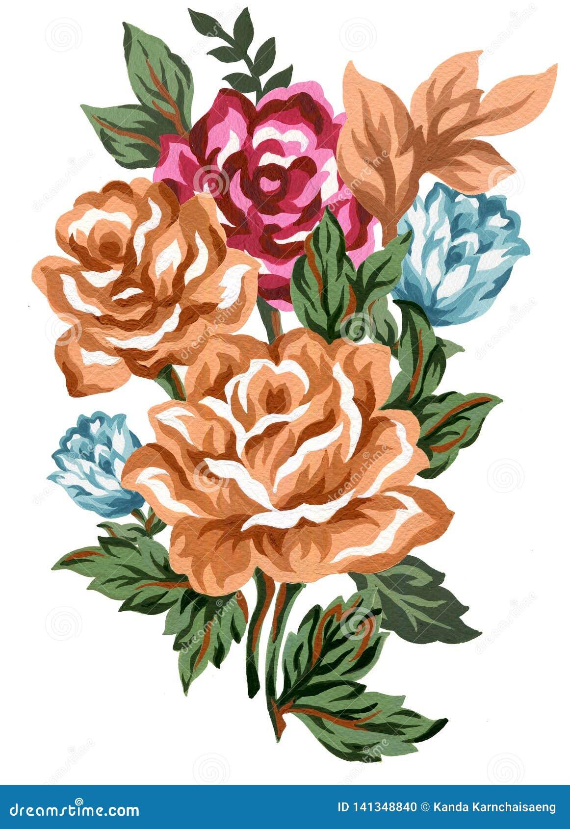 Akwarela rocznika składu kwiecistych menchii czerwony błękitny pomarańczowy brąz, liścia bukieta kwiaty i piórka Odizolowywający