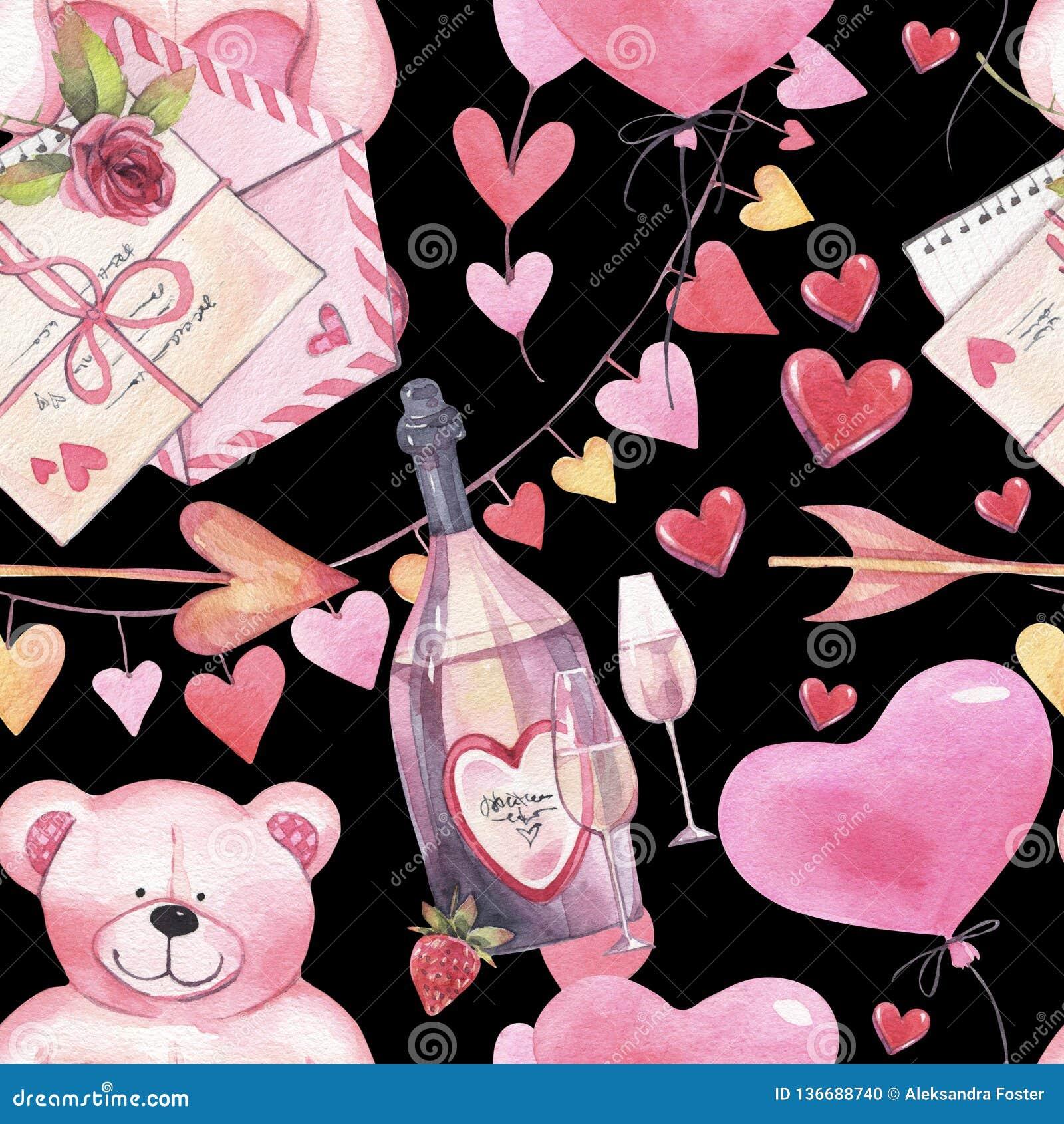 Akwarela romantyczny bezszwowy wzór dla walentynka dnia z misiami, butelką wino, listem, balonami i sercami,