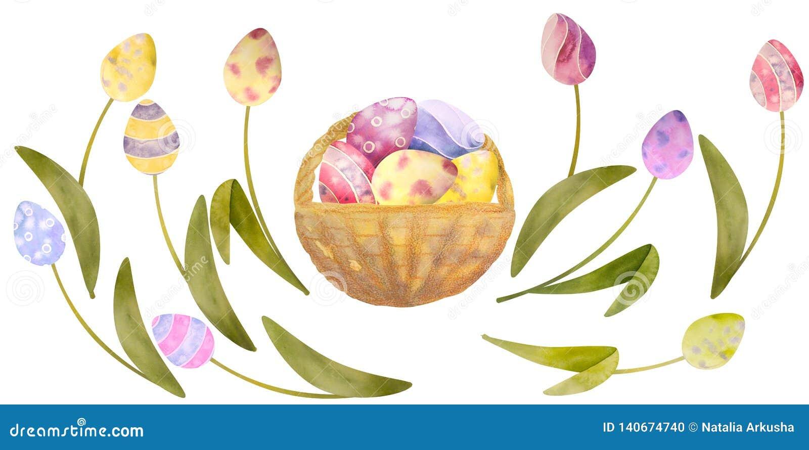 Akwarela rysujący set z elementami szczęśliwy Easter Kwiaty, jajka, wszystko odosobneni na białym tle