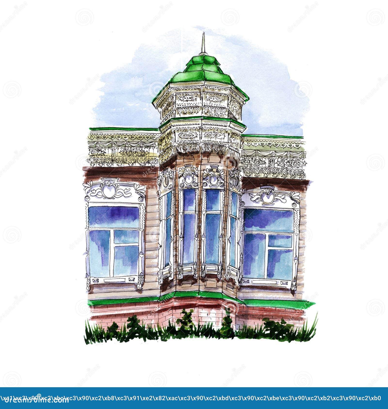 Akwarela rysunek drewniany budynek z kopułą i iglicą