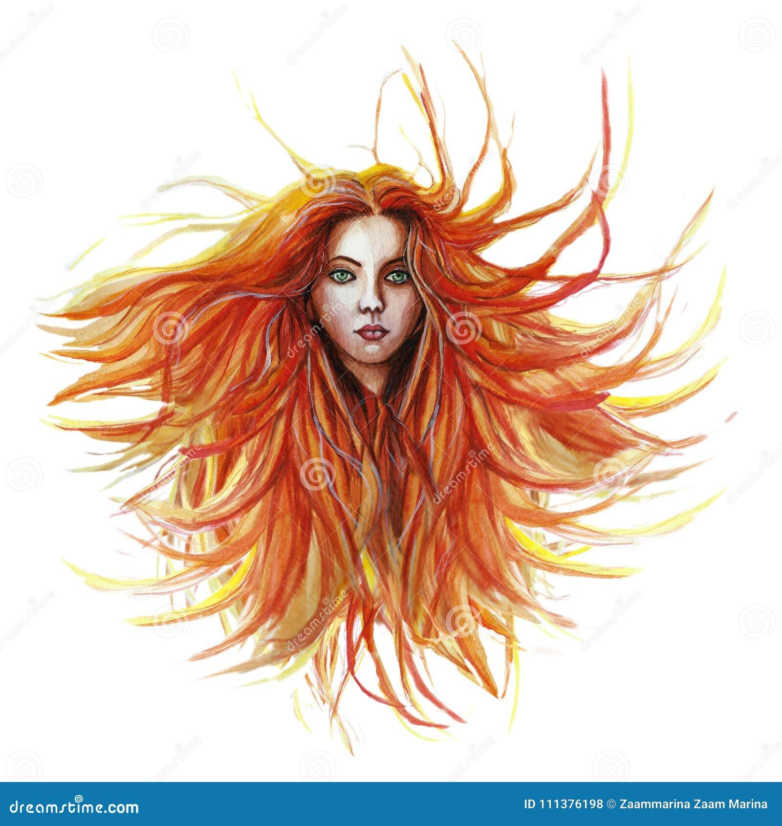 Akwarela rysunek miedzianowłosa dziewczyna, dokąd włosy rozwija w wiatrze w zielonym żakiecie w lilym szaliku z zielonymi oczami,
