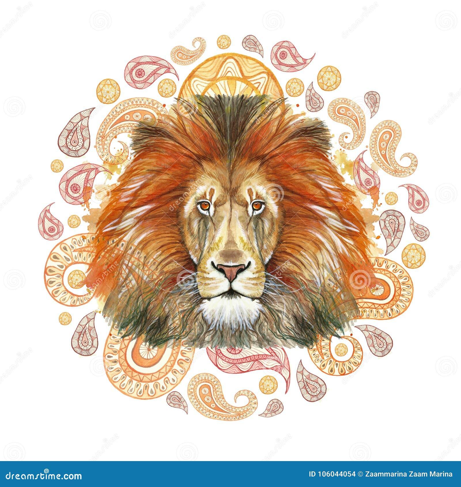 Akwarela rysunek zwierzęcy ssaka drapieżnik, czerwony lew, czerwona grzywa, królewiątko bestie, portret wielkość, siła, królestwo
