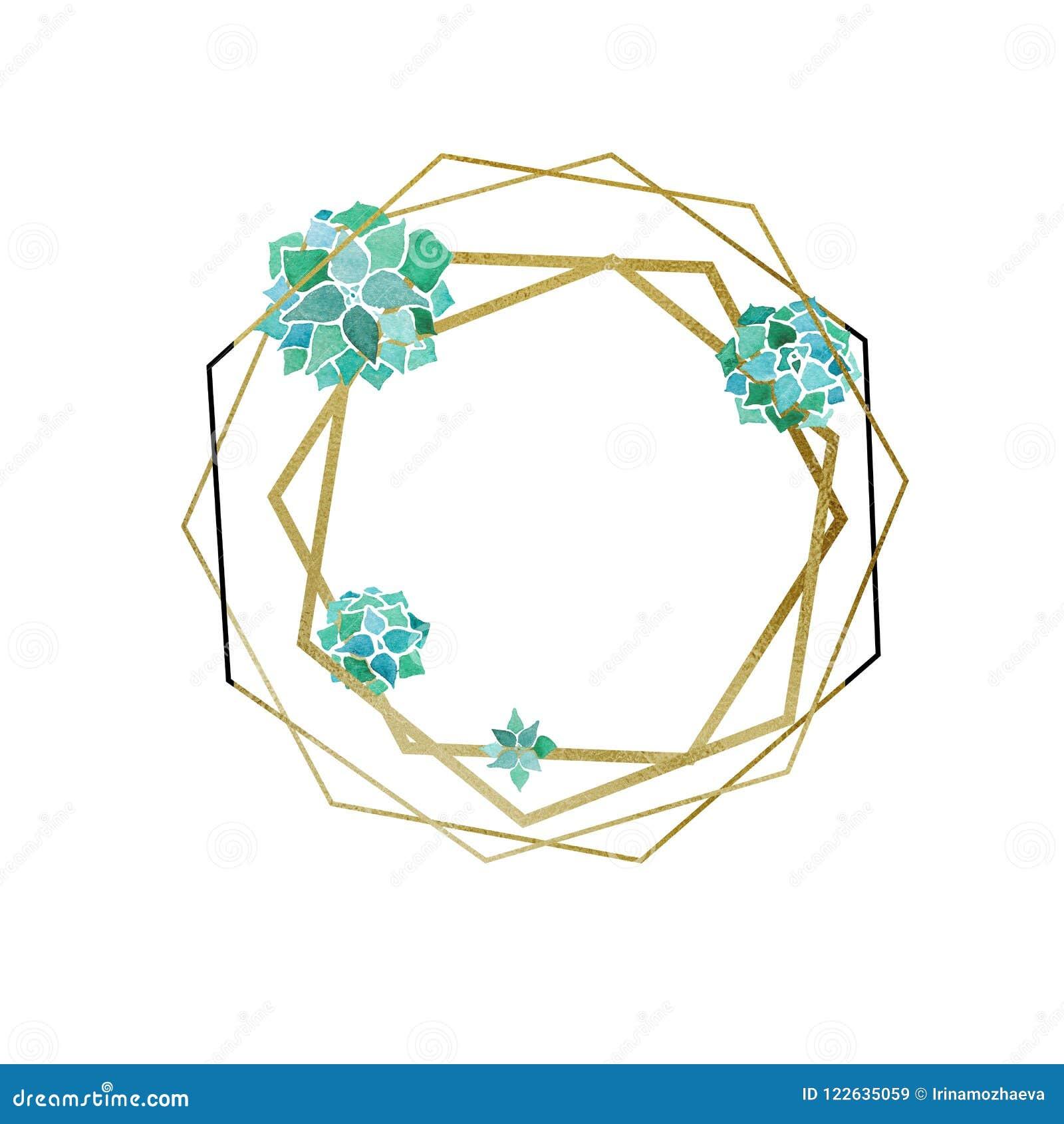 Akwarela sukulenty, złoty sześciokąt i poligons minimalisty geometrical rama