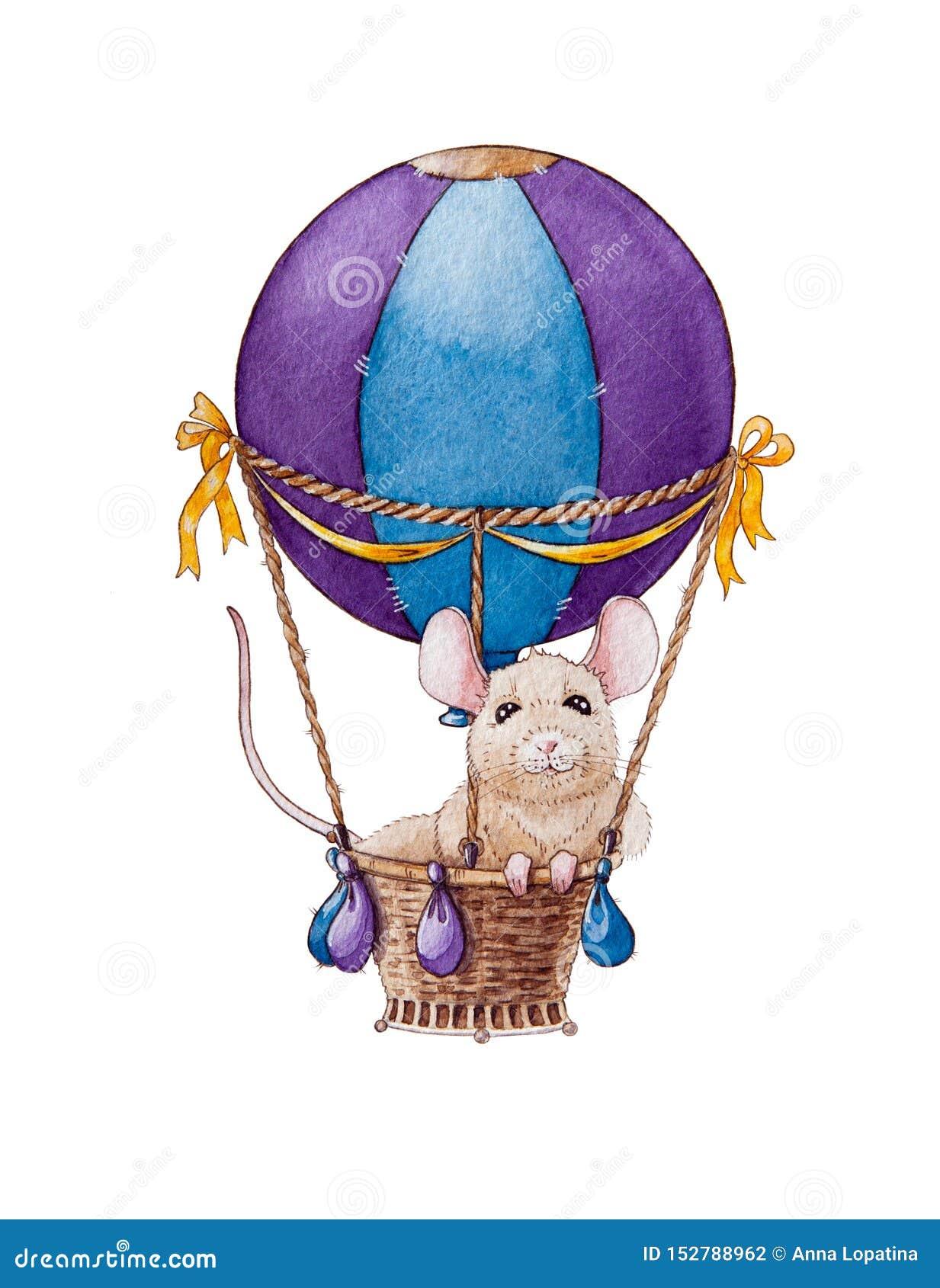 Akwarela szczura lub myszy mały ilustracyjny podróżowanie w lotniczym balonie Chiński zodiaka symbol nowy rok 2020