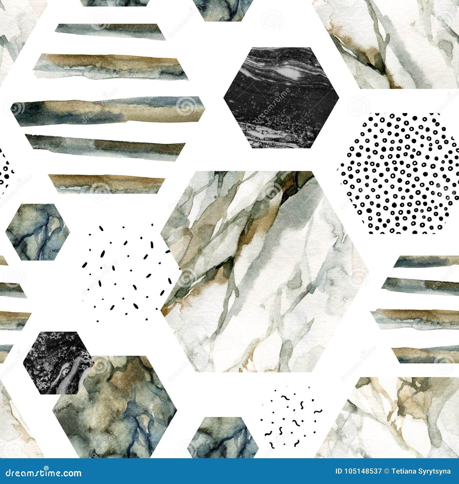 Akwarela sześciokąt z lampasami, wodnego koloru marmur, groszkujący, grunge, papierowe tekstury
