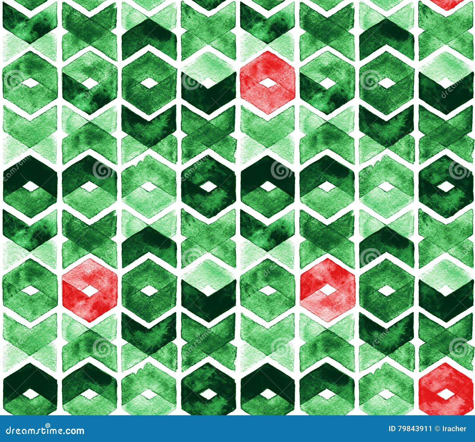 Akwarela szewron w zielonych i czerwonych kolorach na białym tle Abstrakcjonistyczny bezszwowy wzór dla bożych narodzeń i nowego
