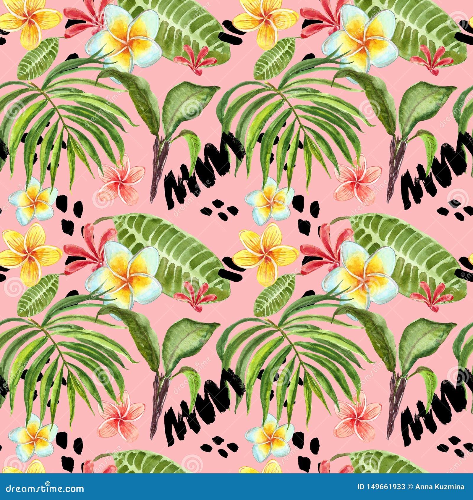 Akwarela tropikalnych li?ci bezszwowy wz?r R?ka maluj?cy palmowy li??, egzotyczni plumeria kwiaty i zielony ulistnienie na jaskra