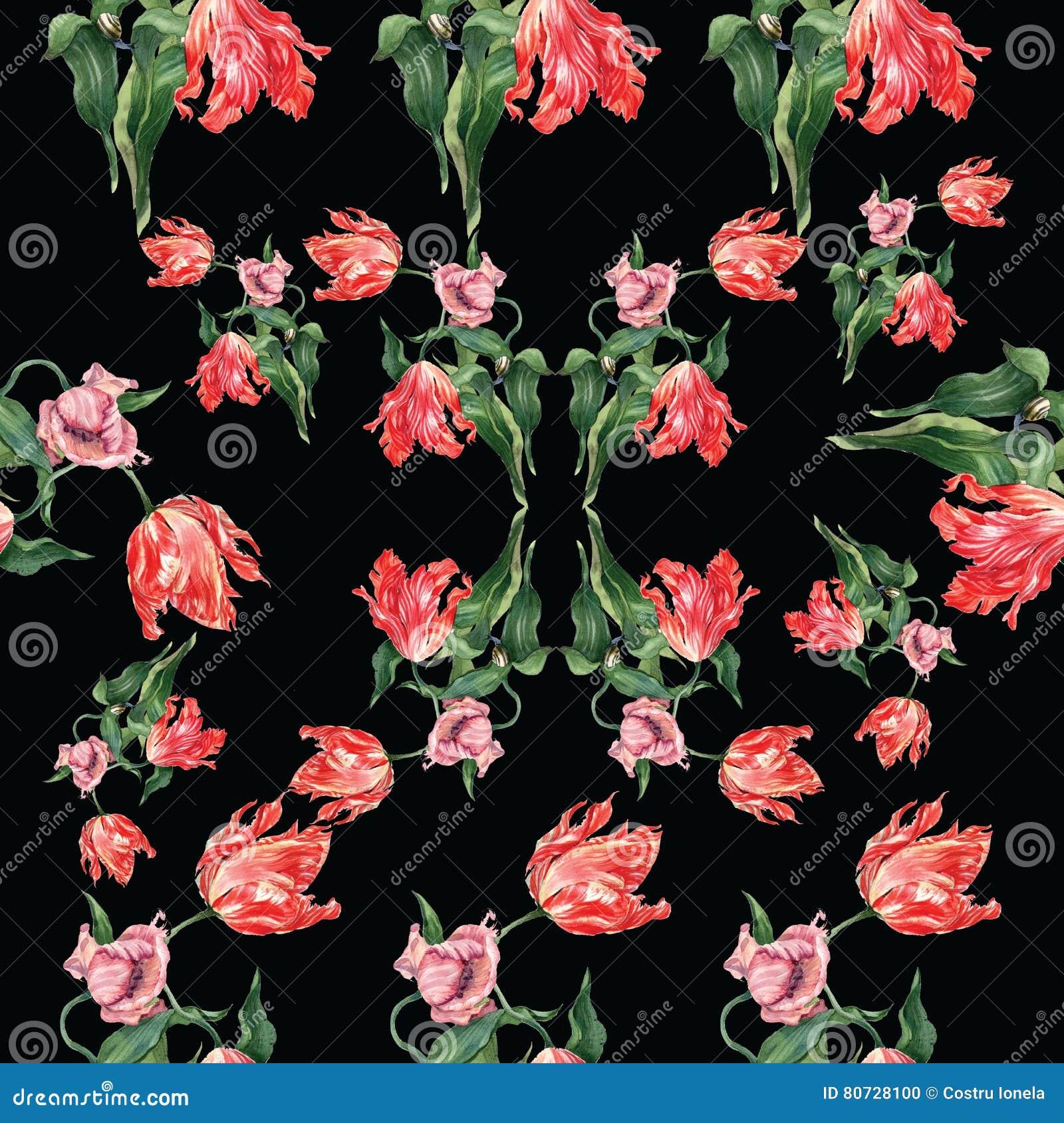 Akwarela tulipanów wzór