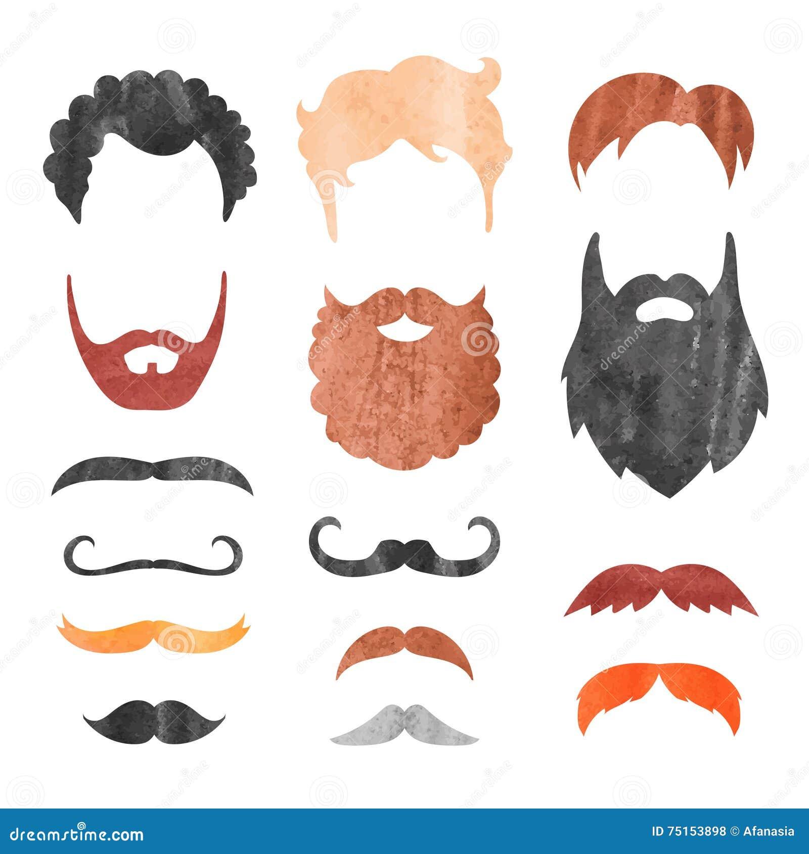 Akwarela wąsy, broda i ostrzyżenie set,