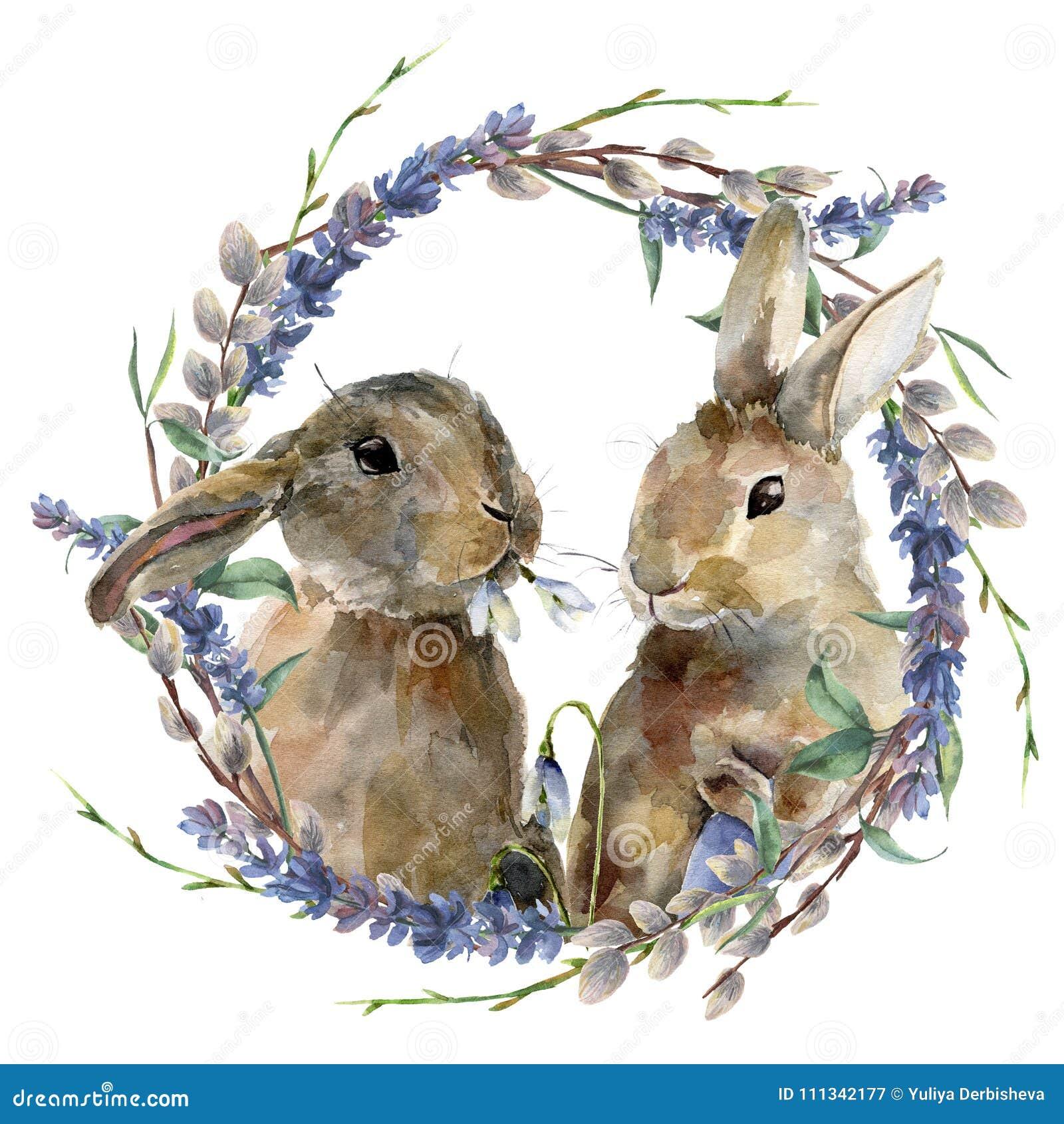 Akwarela Wielkanocny królik z kwiecistym wiankiem Wręcza malującego królika z lawendą, wierzbą i gałąź odizolowywającymi na bielu