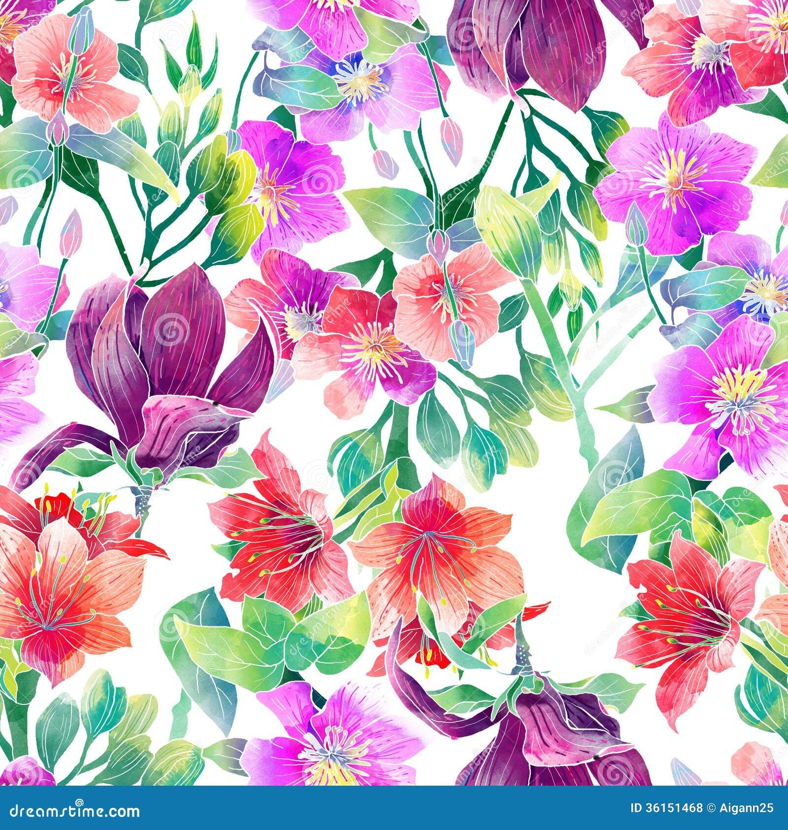 Akwarela wzór egzotyczni kwiaty