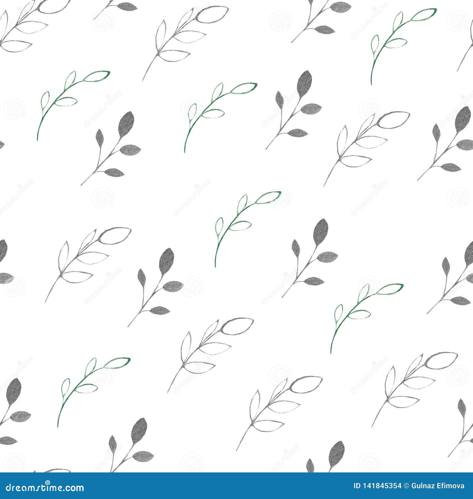 Akwarela wzór z liśćmi i gałąź na białym tle