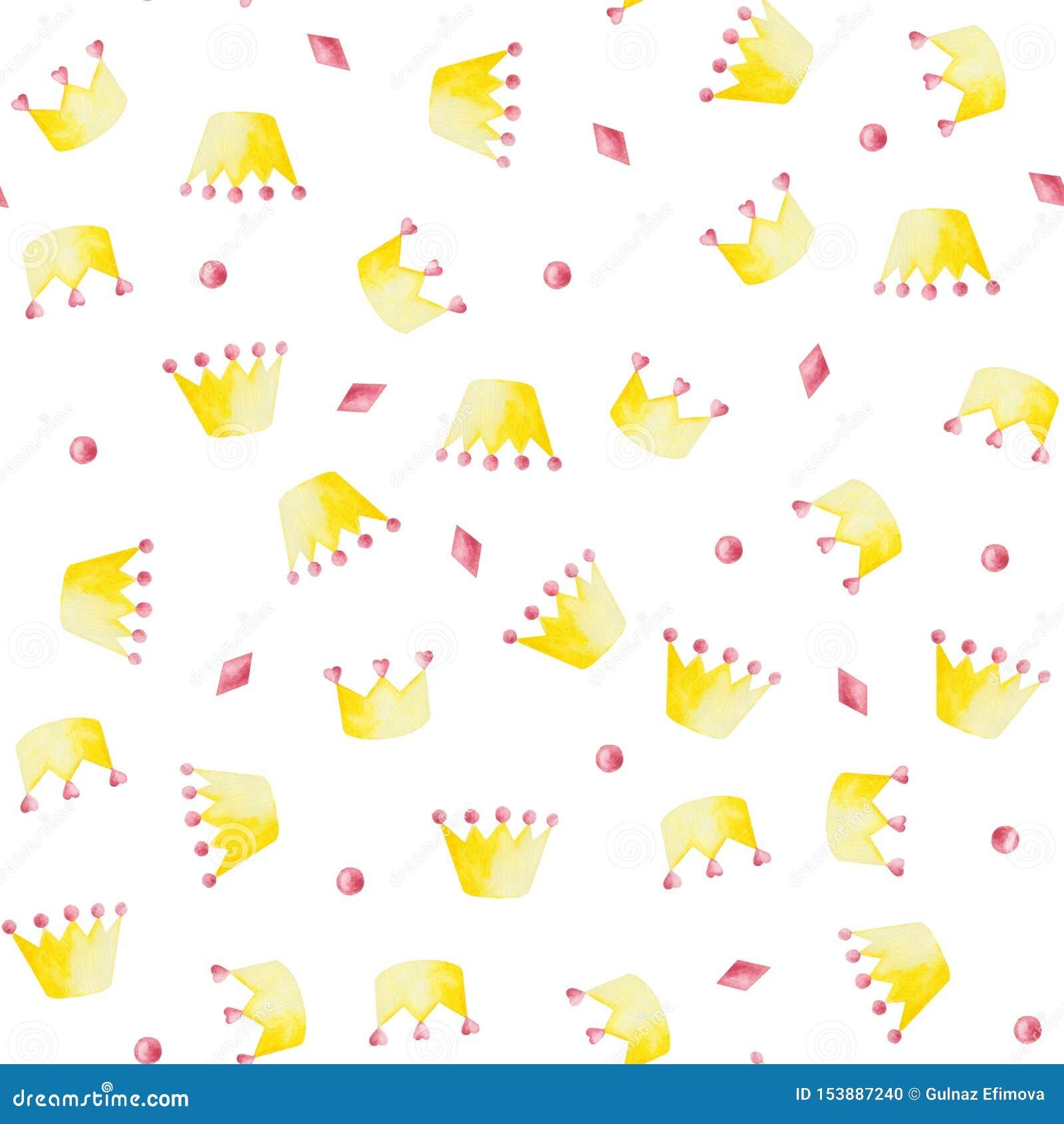 Akwarela wzór z menchiami i kolorem żółtym koronuje na białym tle