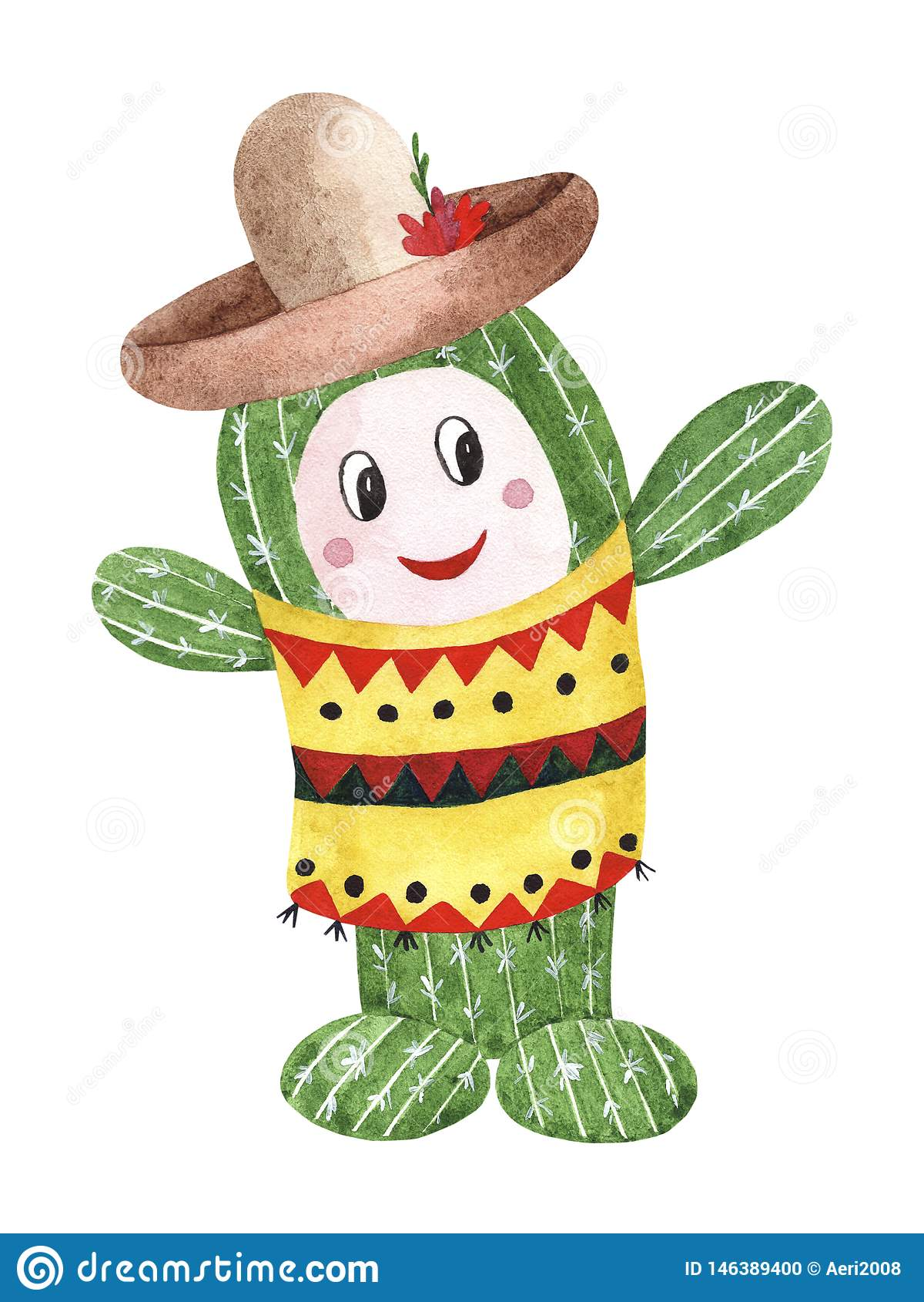 Akwarela zielony Meksykański kaktus w sombrero