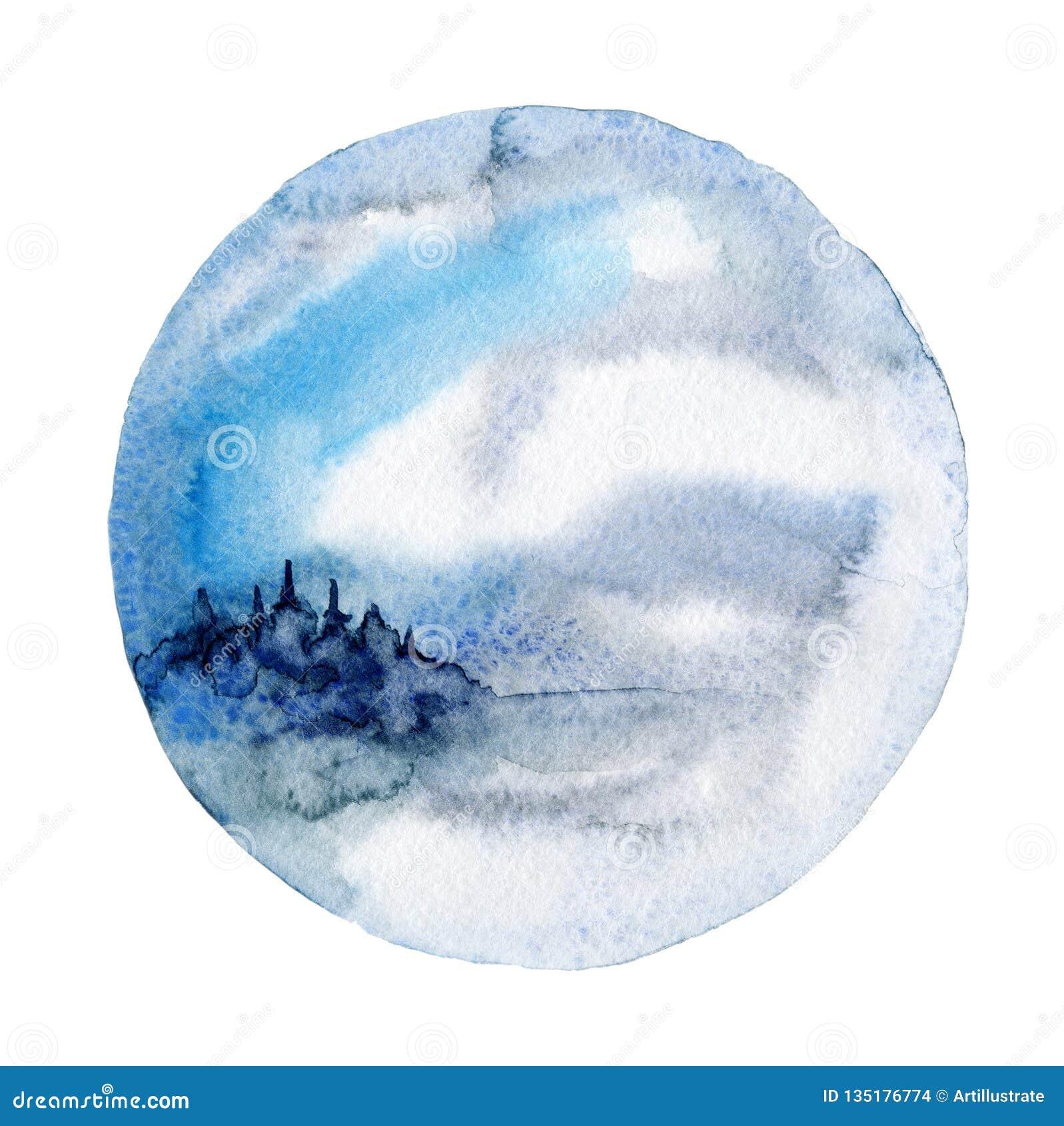 Akwareli ścienna sztuka, zima krajobraz
