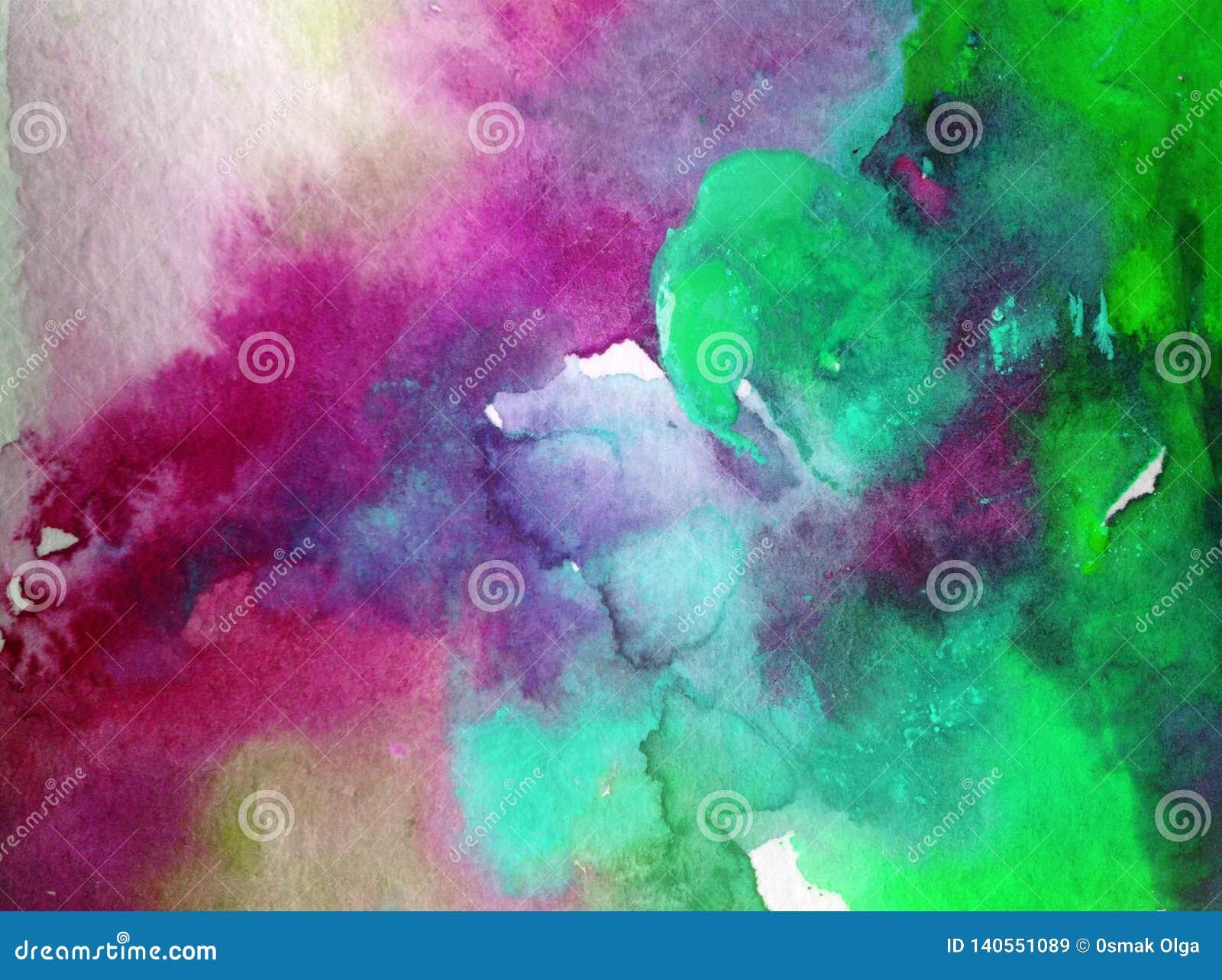 Akwareli abstrakcjonistyczny jaskrawy kolorowy textural tło handmade Obraz niebo i chmury podczas zmierzchu Nowożytny pozaziemski