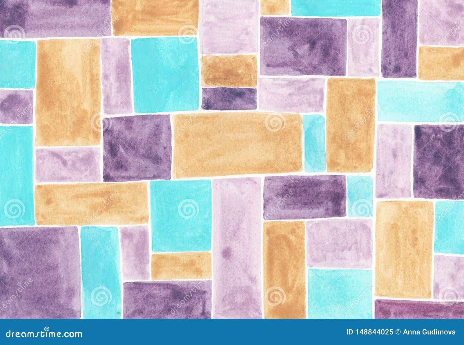Akwareli abstrakcjonistyczny t?o z stubarwnymi kwadratami
