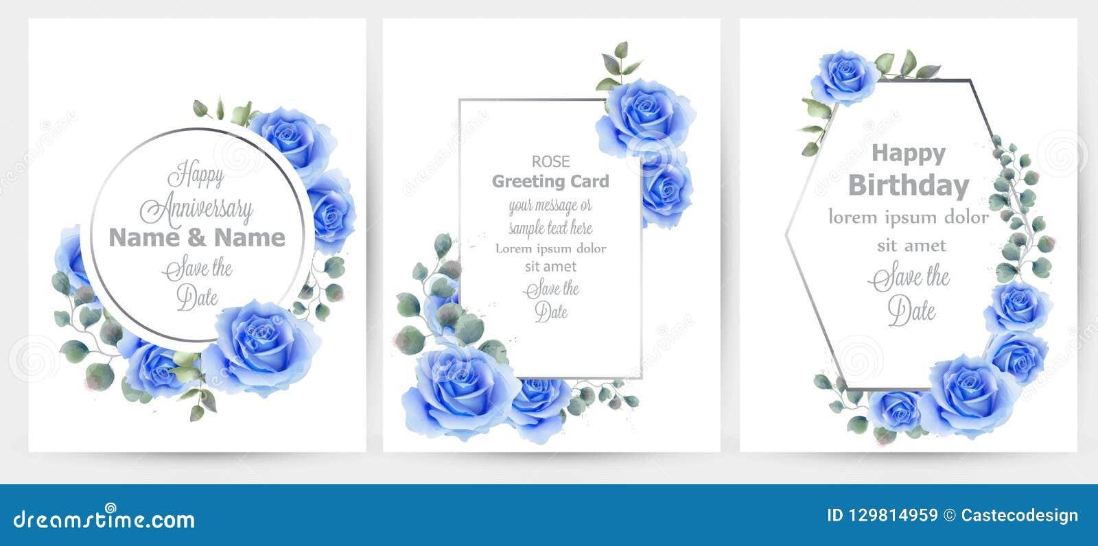 Akwareli błękita róża kwitnie karta ustawiającego inkasowego wektor Rocznik kartka z pozdrowieniami, ślubny zaproszenie, dziękuje