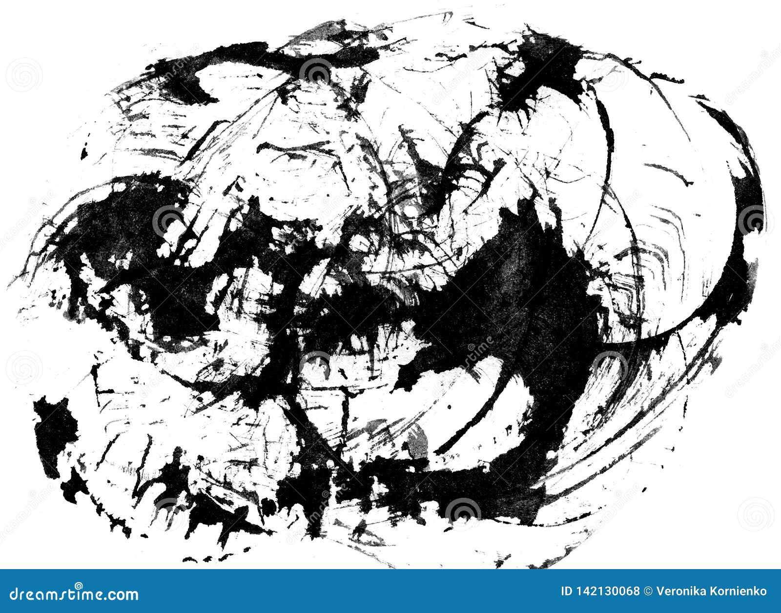 Akwareli black&white abstrakcjonistyczny tło na bielu