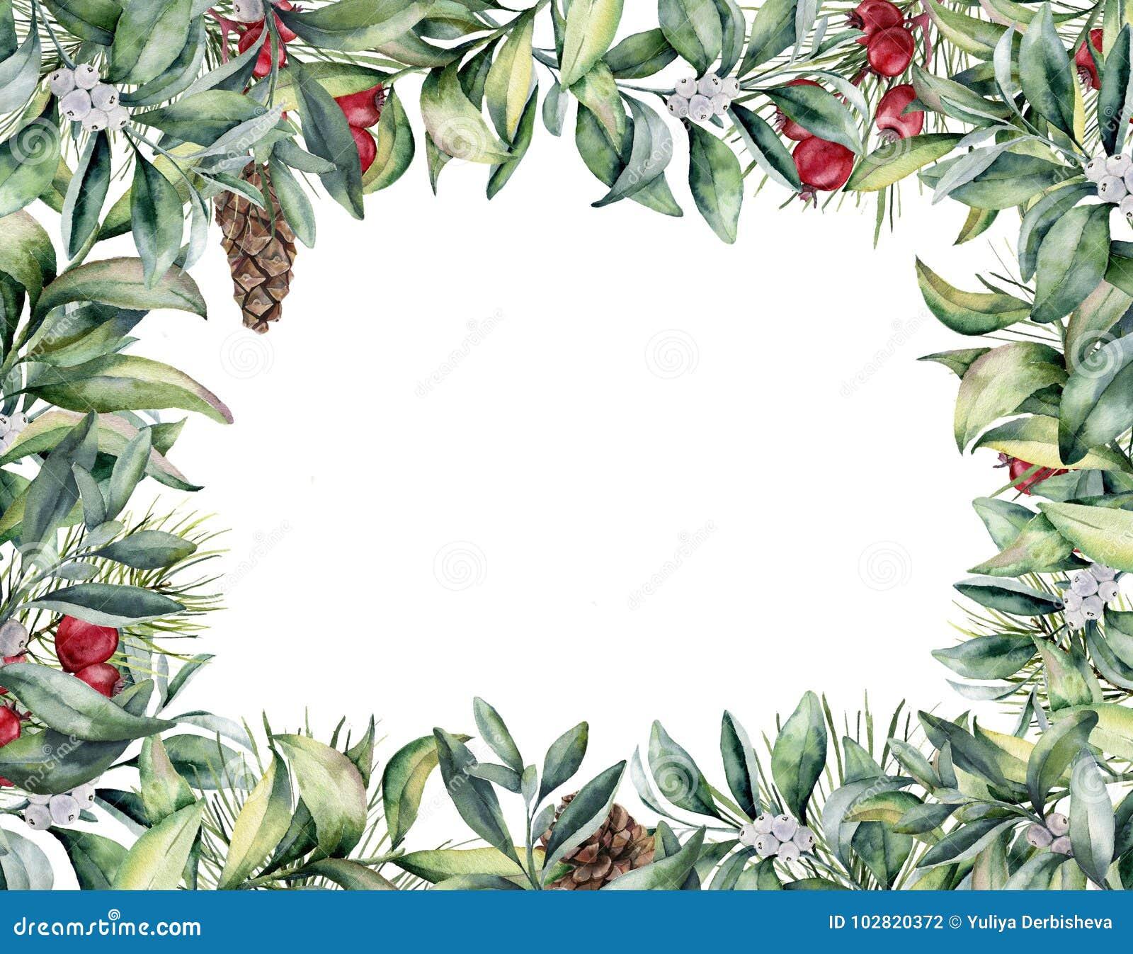 Akwareli Bożenarodzeniowa kwiecista karta Ręka malująca zimy roślina i