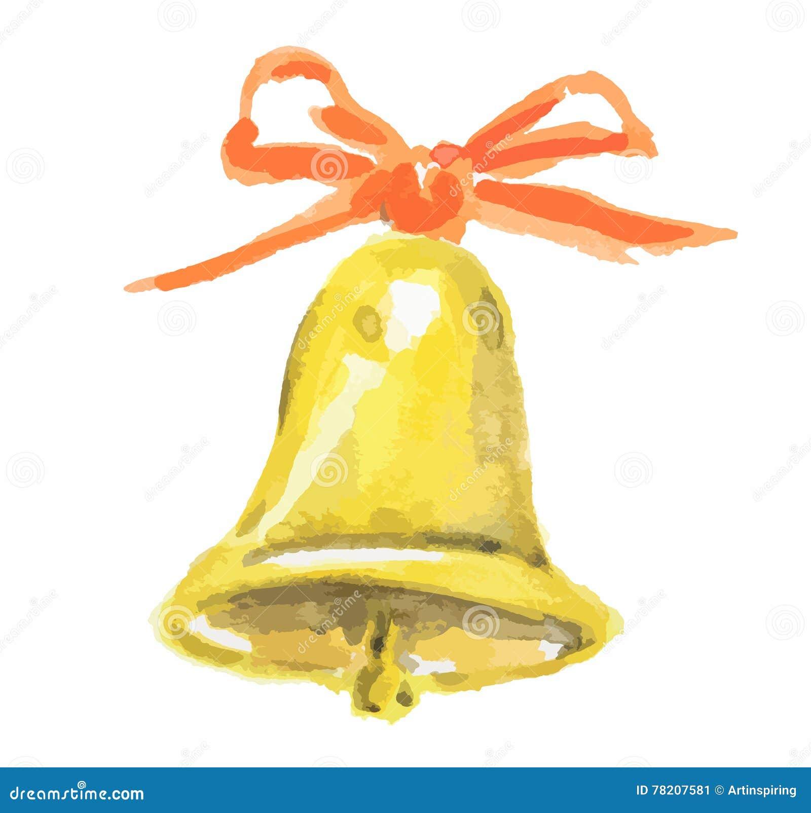 Akwareli bożych narodzeń dzwon