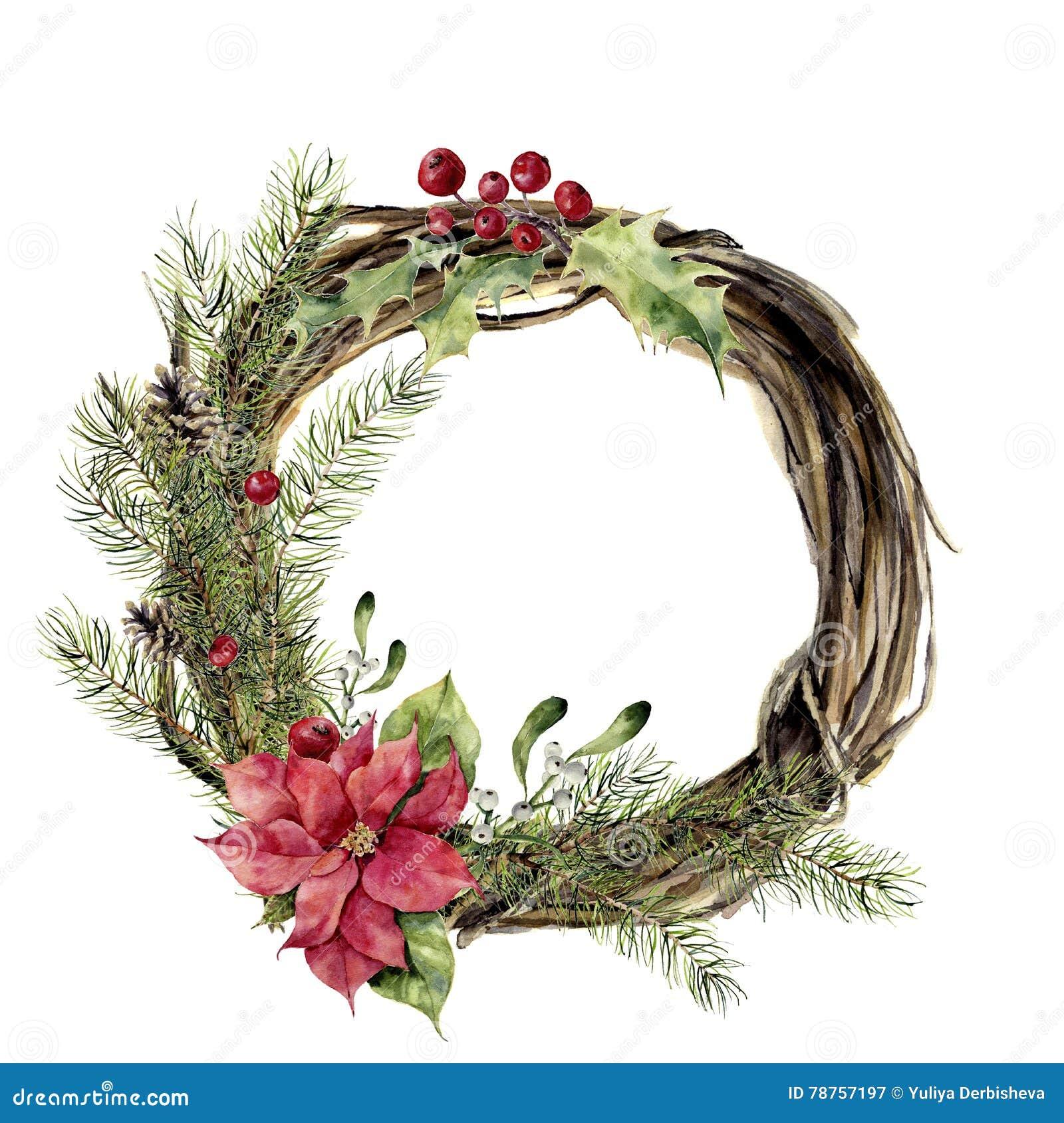 Akwareli bożych narodzeń wianek z wystrojem Nowego roku drzewo i drewno gałęziasty wianek z holly, jemiołą i poinsecją dla,