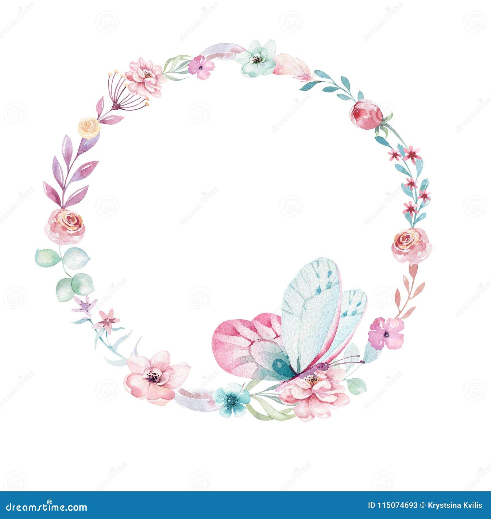 Akwareli boho kwiecisty wianek Artystyczna naturalna rama: liście, piórka, kwiaty, Odizolowywający na białym tle artystyczny