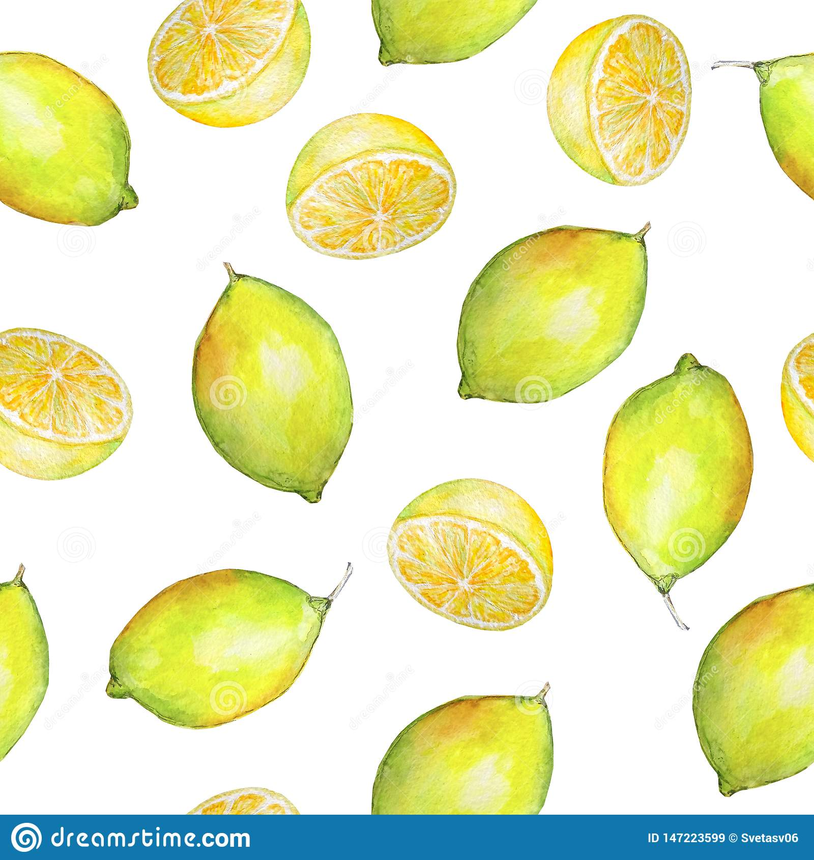Akwareli cytryny i cytryn bezszwowe deseniowe połówki
